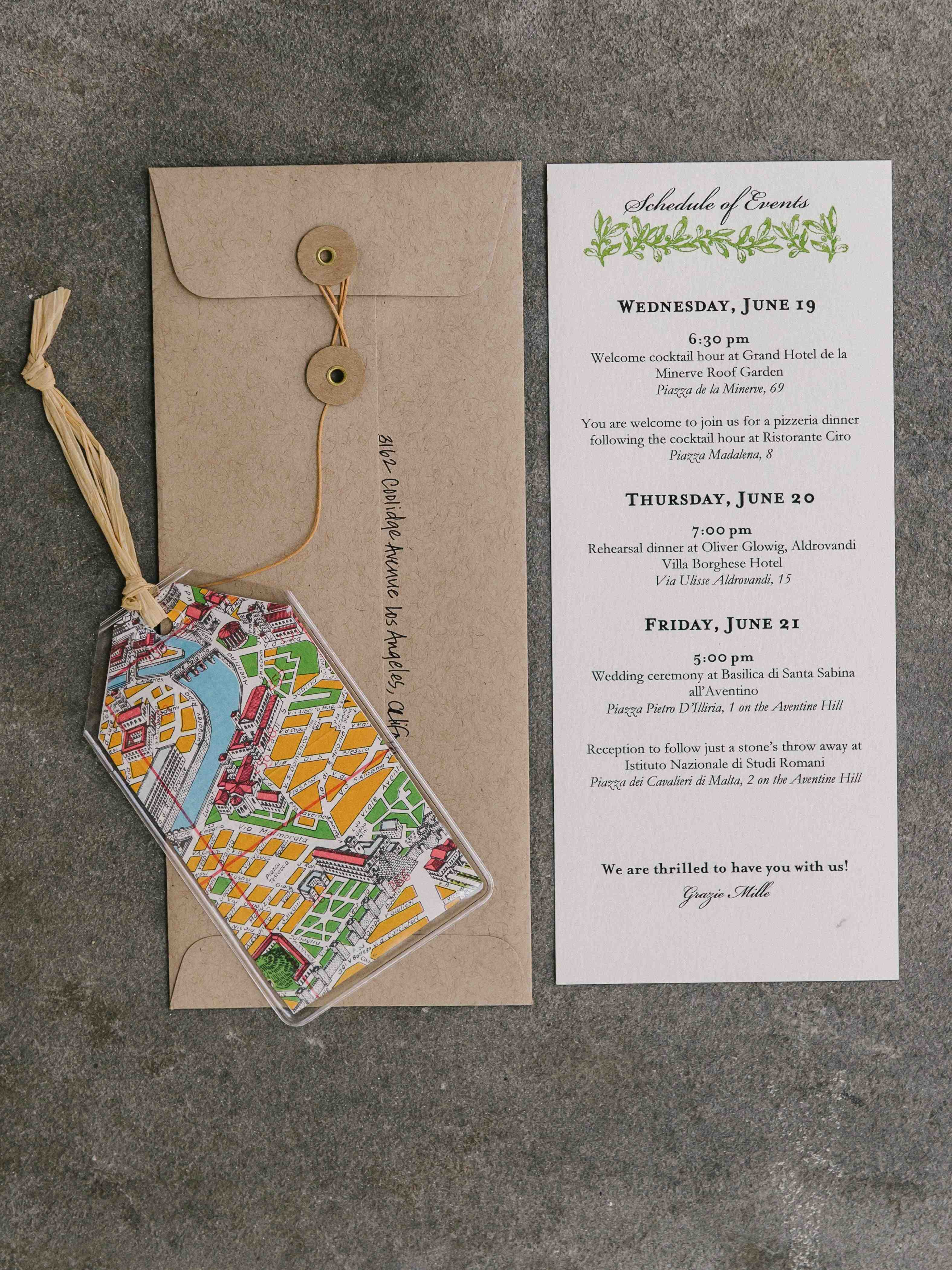 luggage tag inspired invitation suite for destination wedding