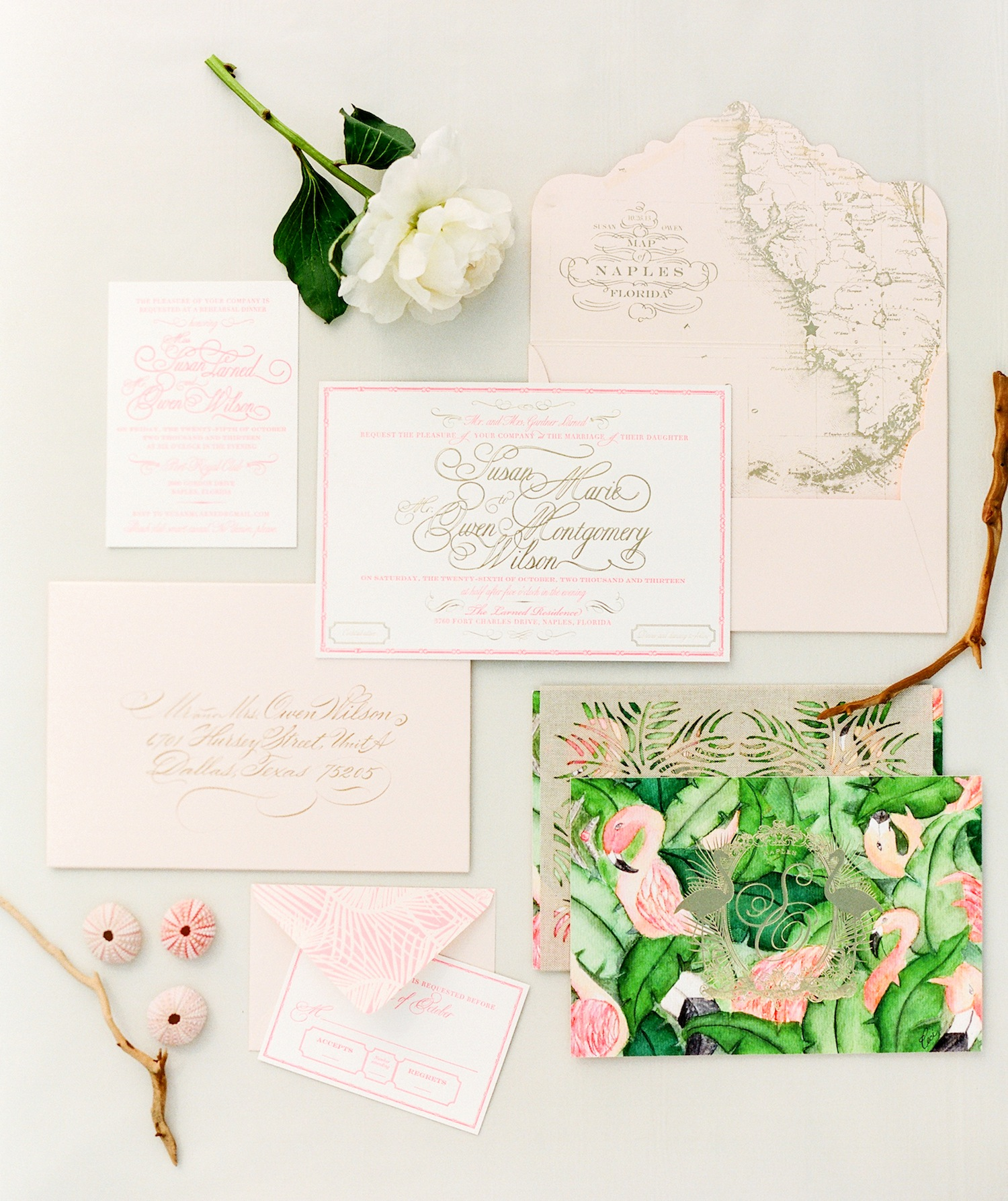 tropical destination wedding invitations with map motif