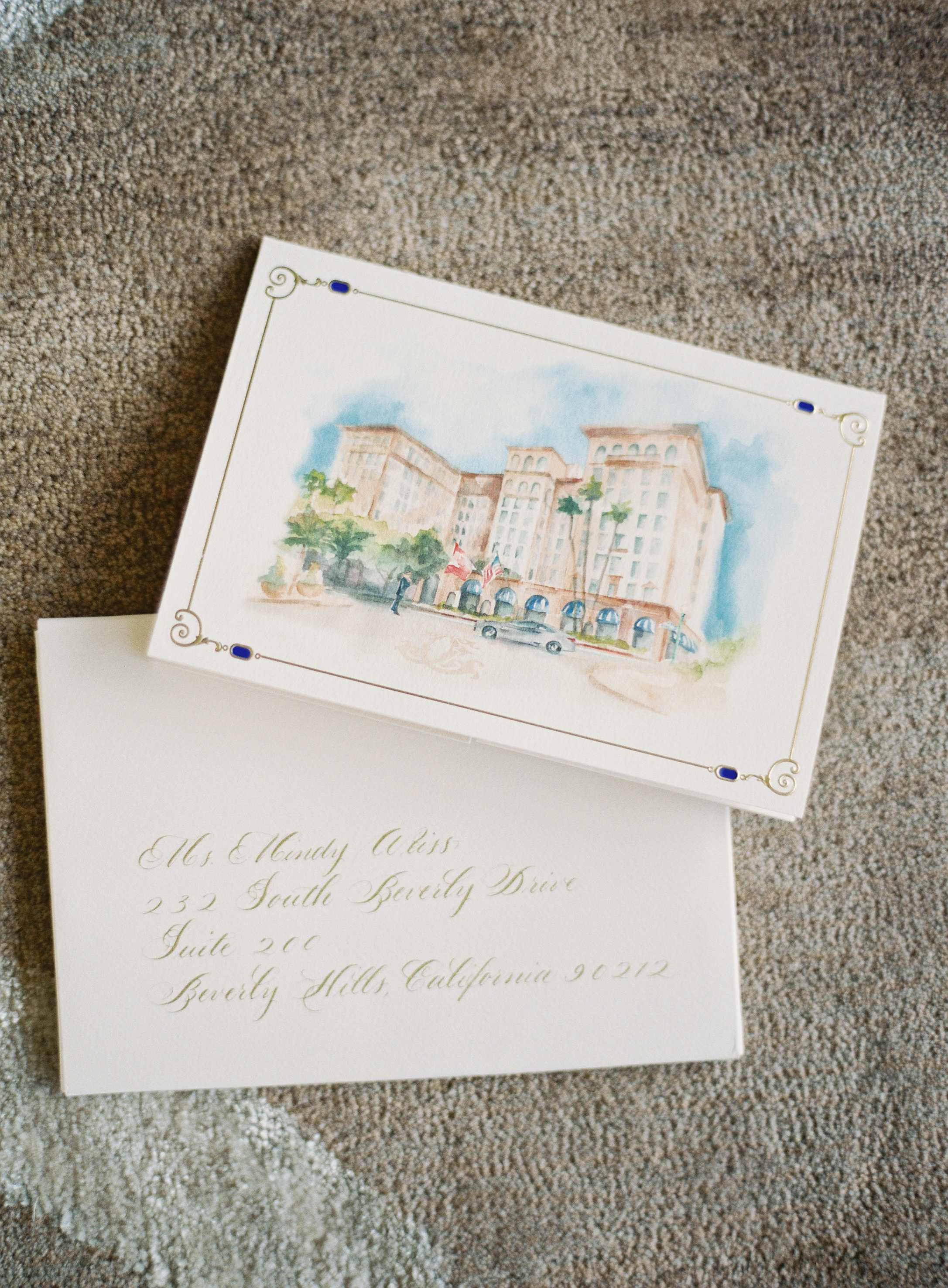 watercolor invitation of beverly hills hotel, destination wedding