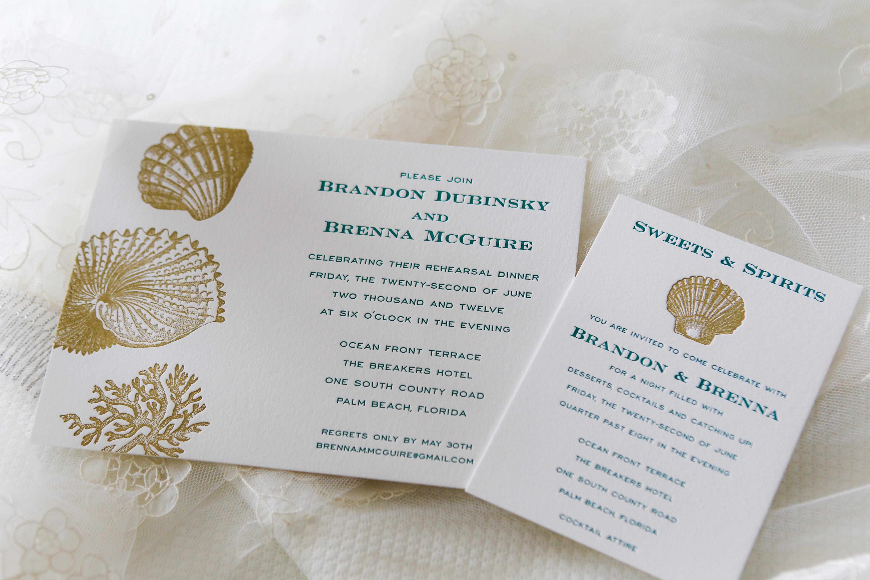 palm beach florida wedding invitations with seashell motif