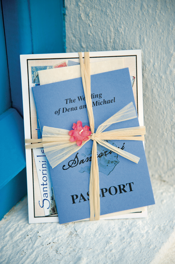 santorini destination wedding invitation suite designed like passport - Destination Wedding Invites