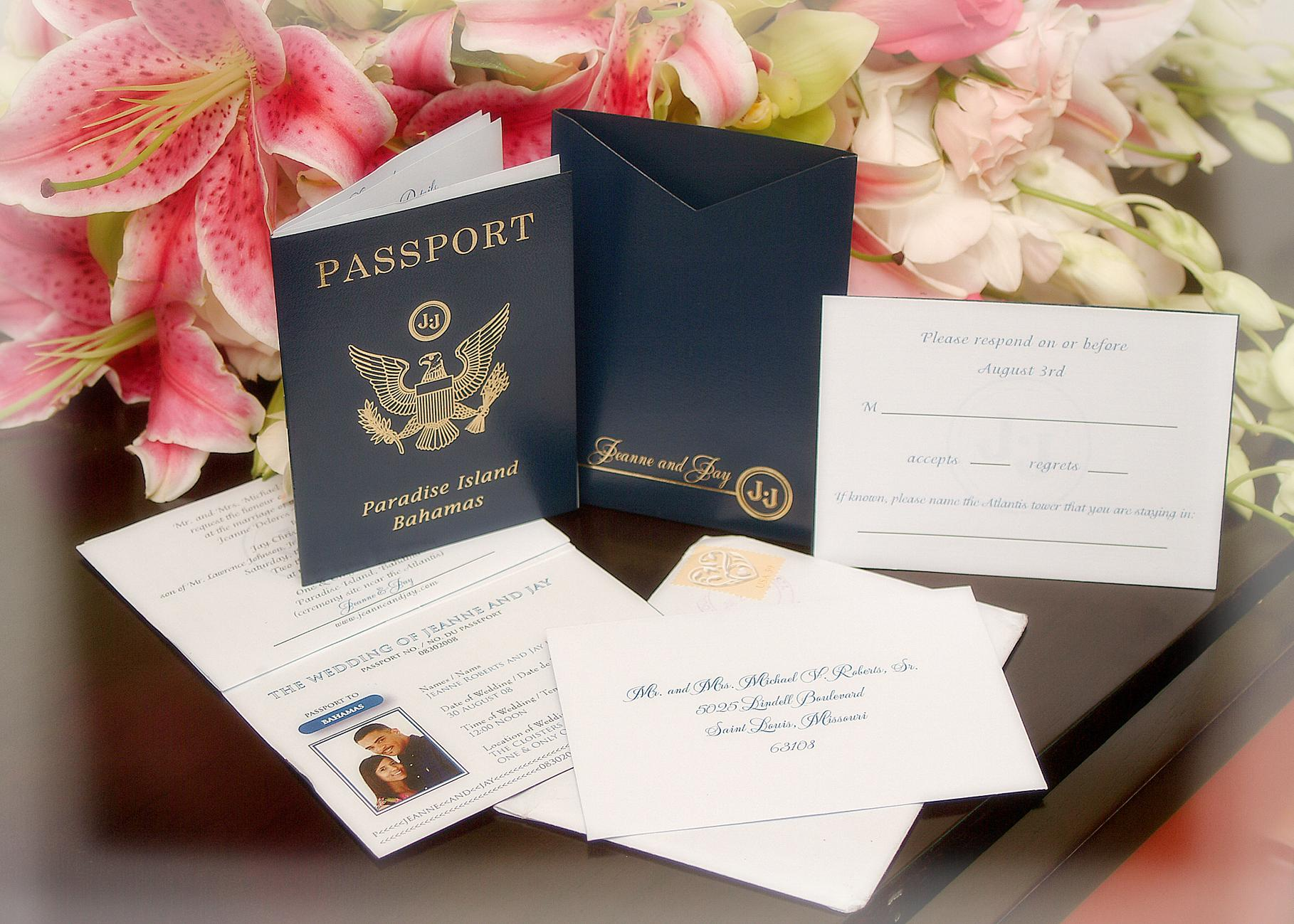 passport invitations for destination wedding in the bahamas