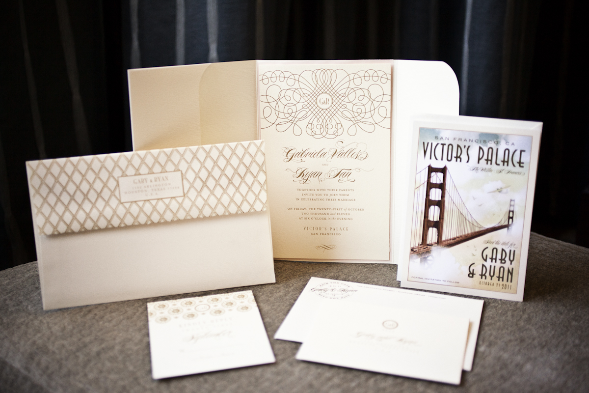 san francisco themed wedding invitation suites