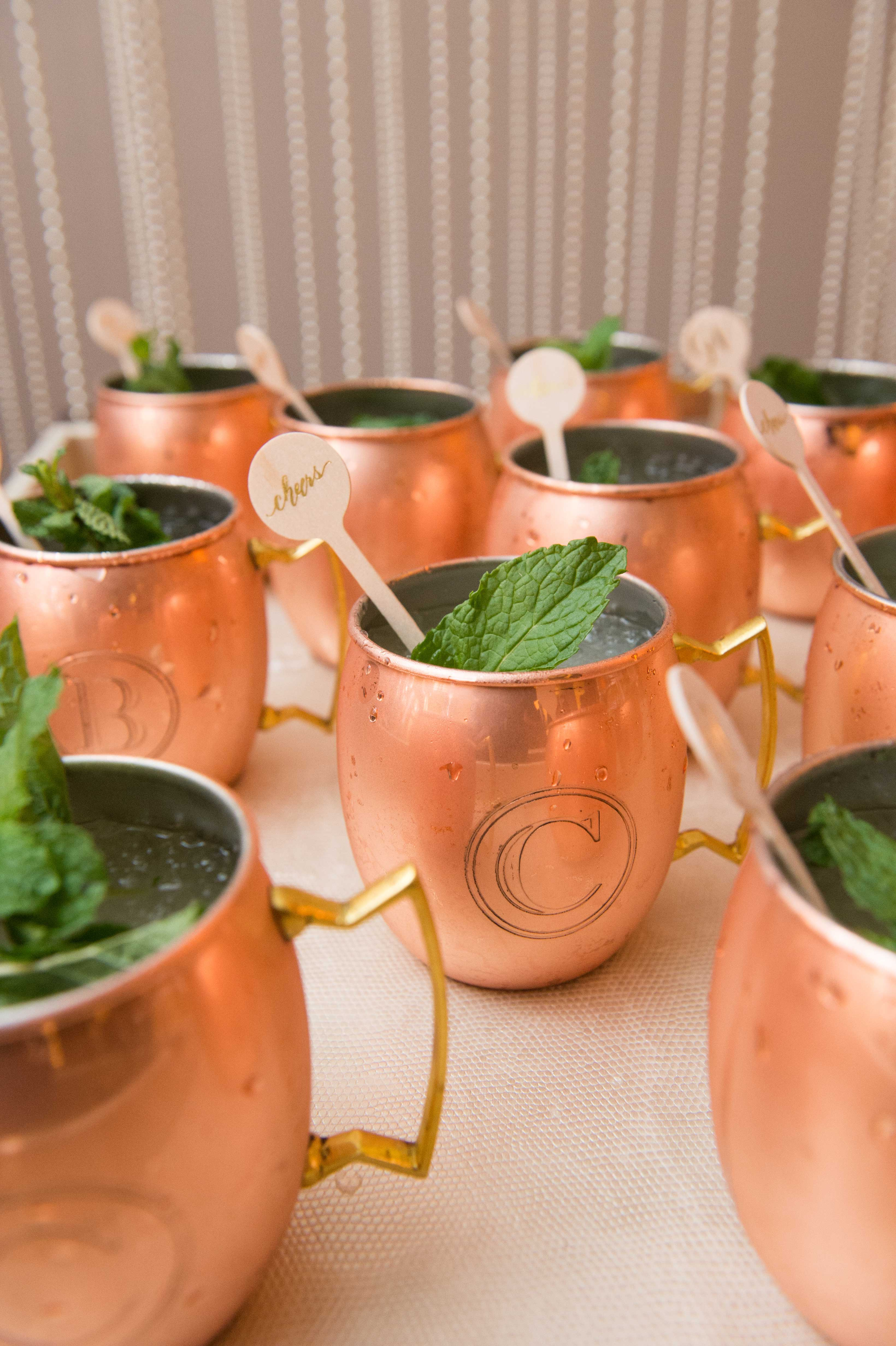 Copper moscow mule mugs with mint wedding drink stirrer cheers