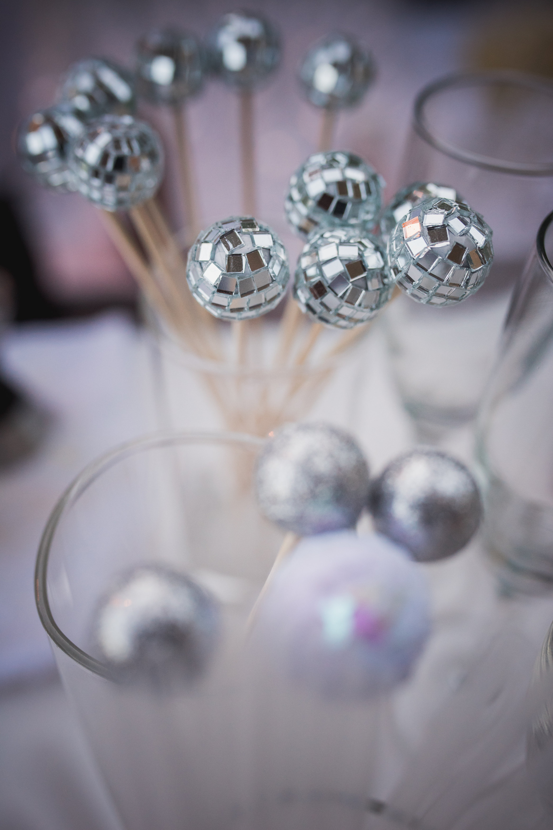 Disco ball drink stirrers 70s theme after-party