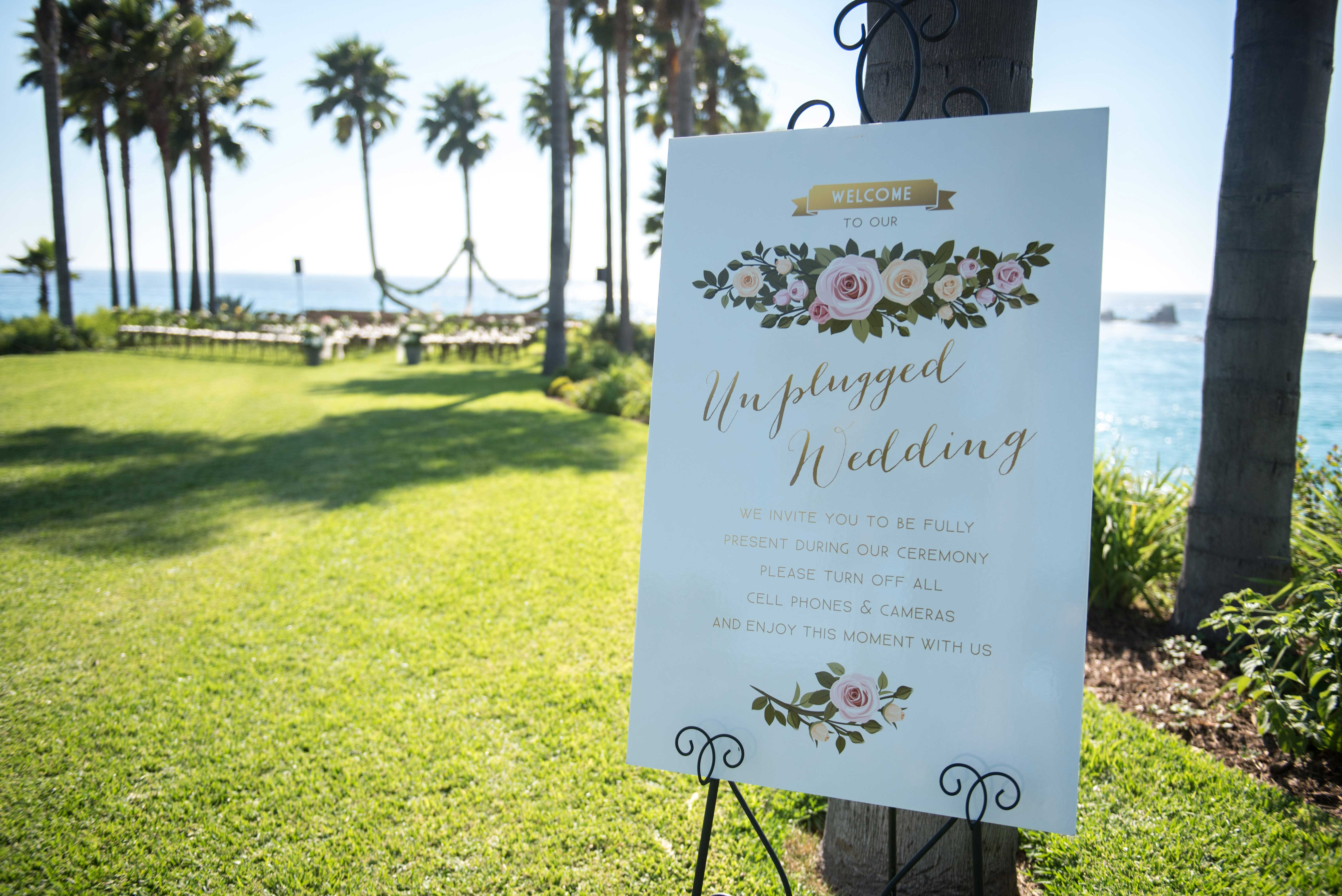 Unplugged wedding ceremony sign on grass lawn