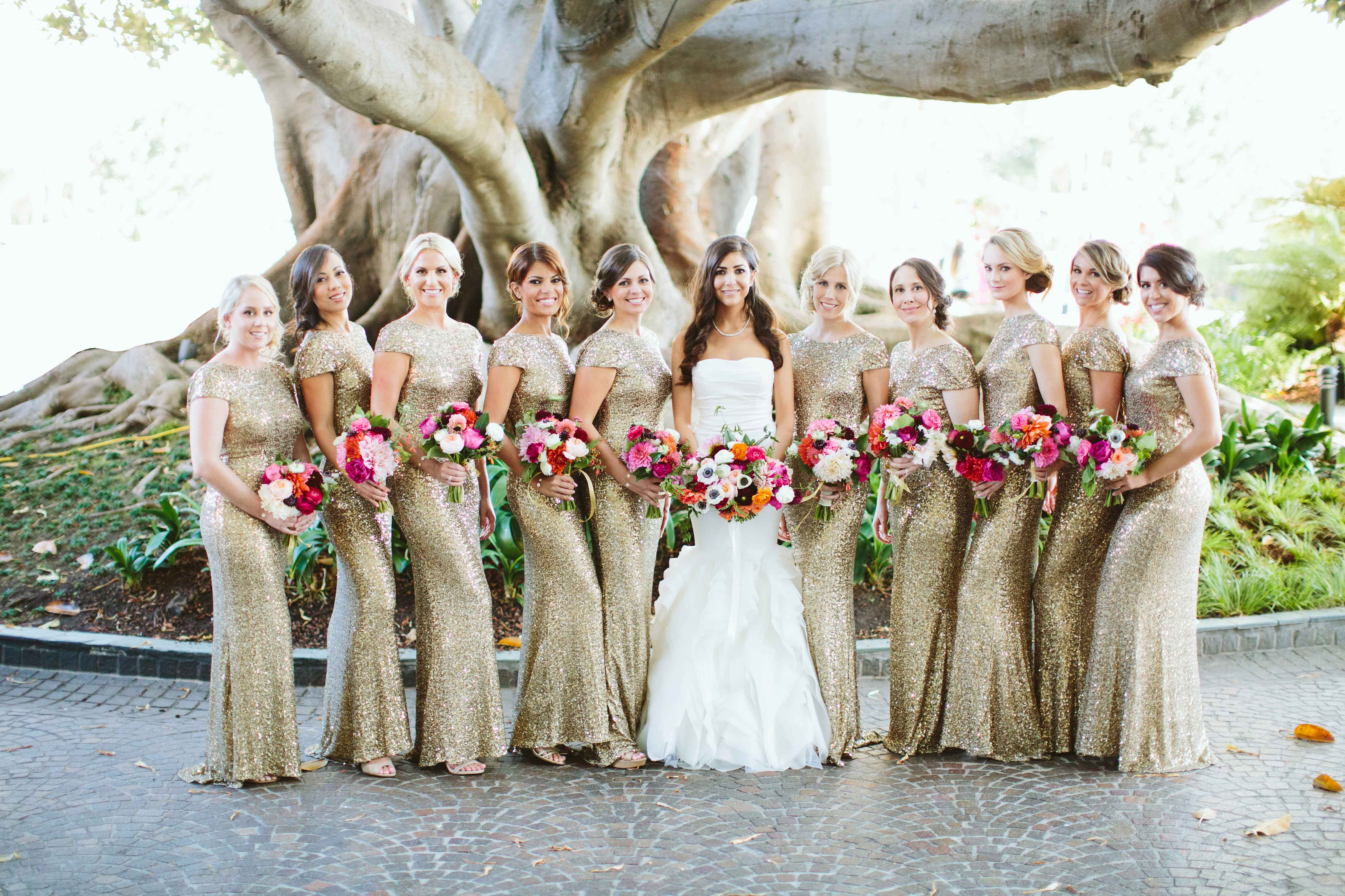 Bridesmaids at Fairmont Miramar Hotel & Bungalows in long gold sequin short sleeve gowns