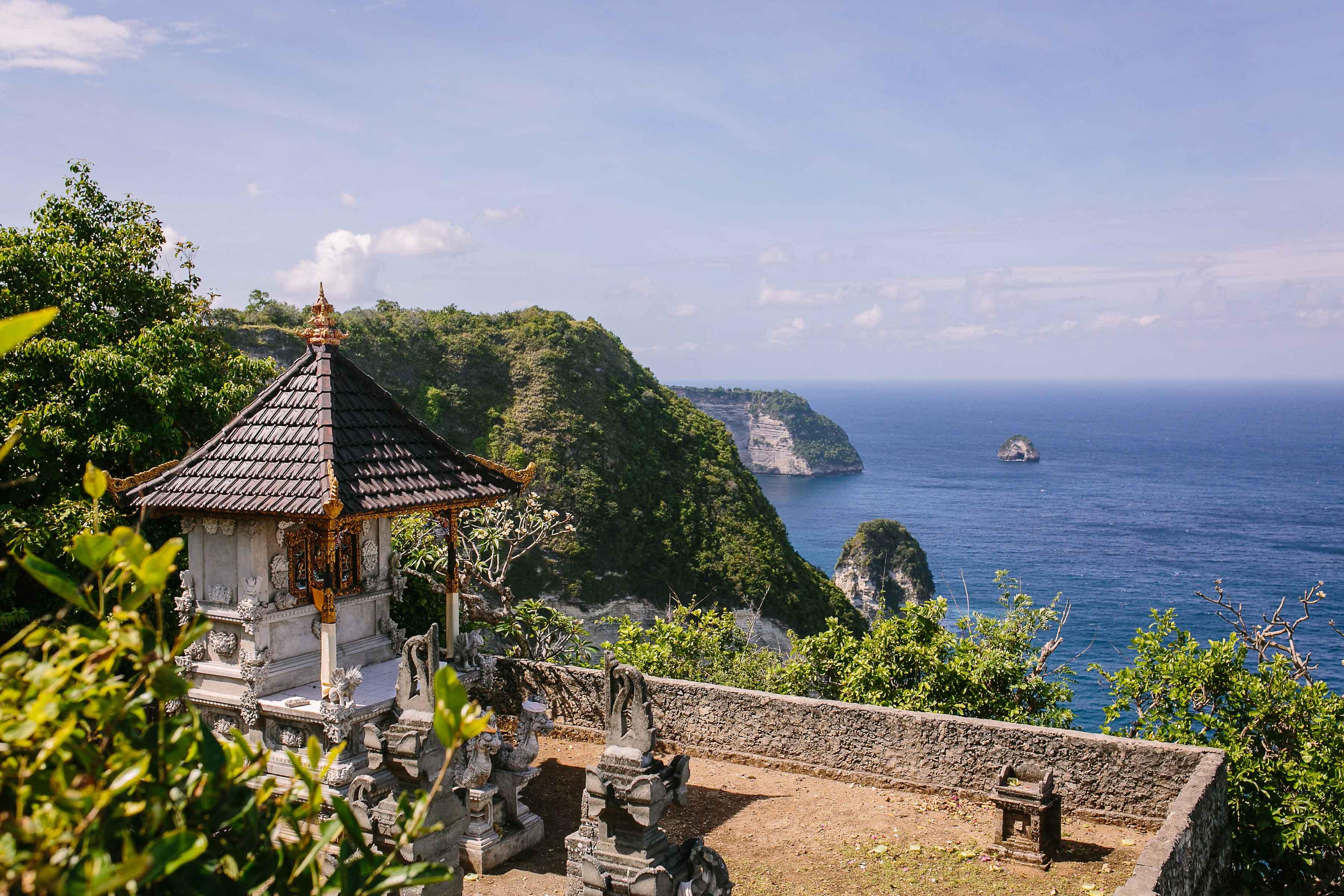 Temple in Bali on ocean bluff Marry at the Mulia