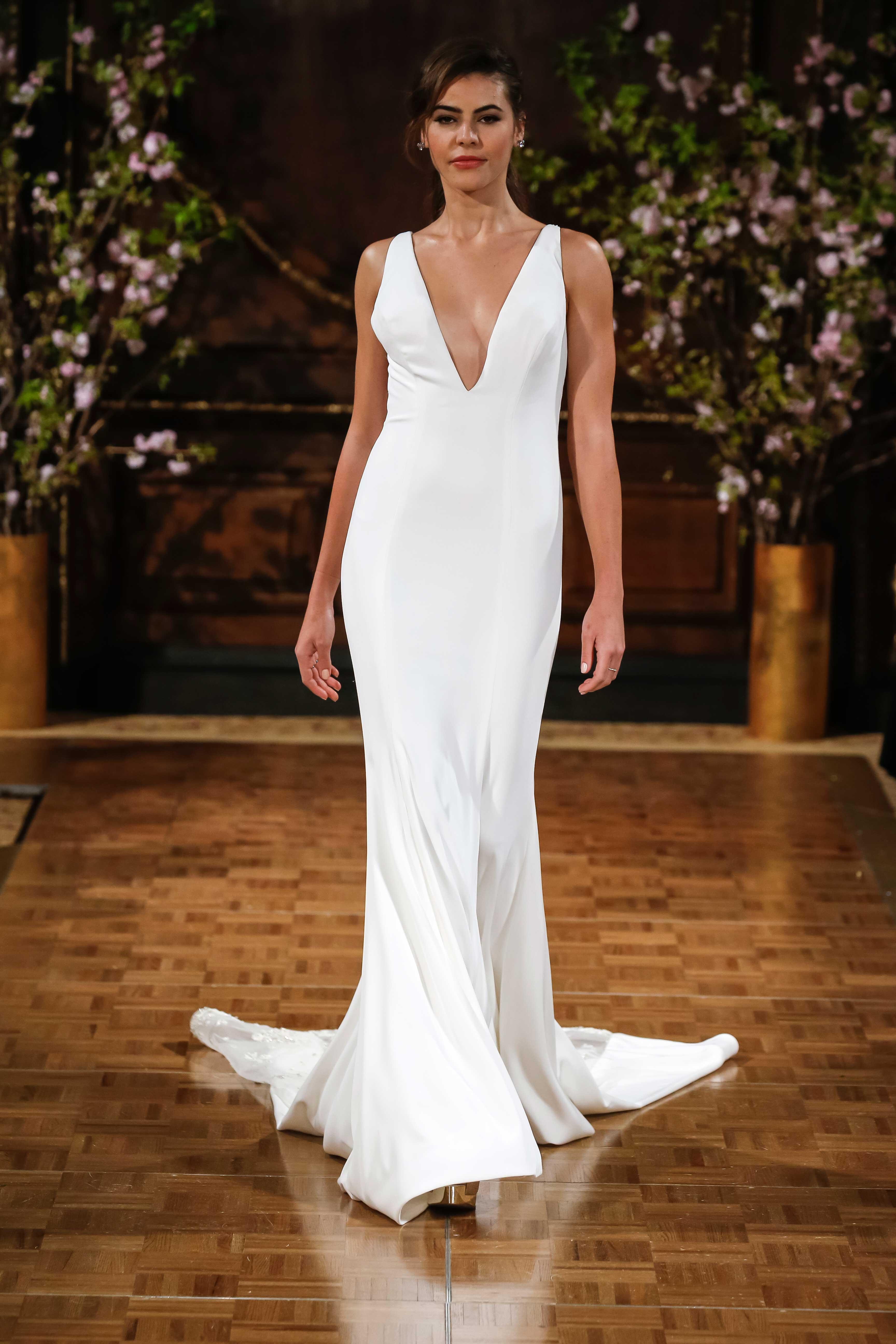 isabelle armstrong v neck bridal gown, emmy rossum emmys inspiration