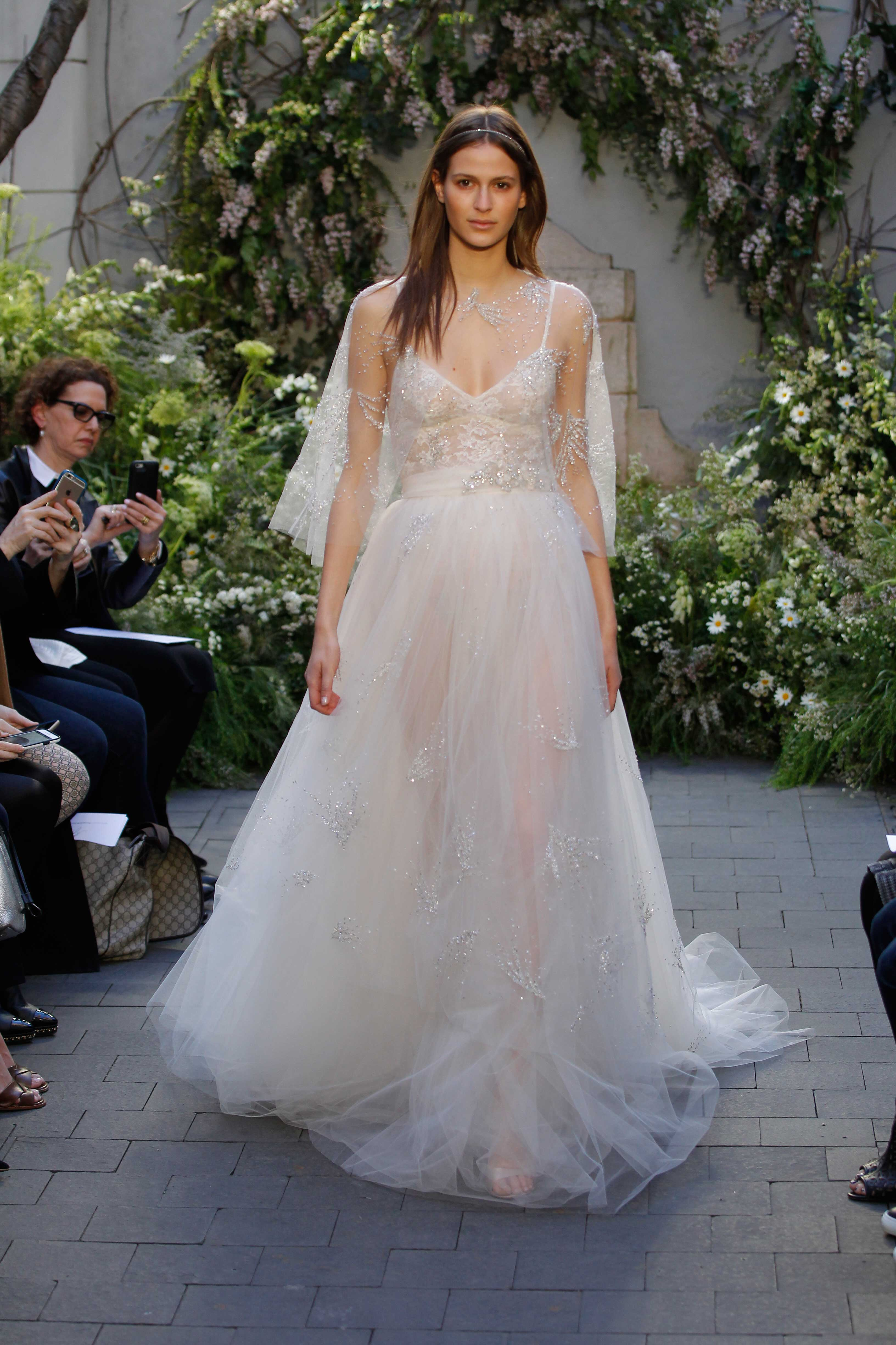 Monique Lhuillier bridal gown with cape, giuliana rancid emmy inspiration