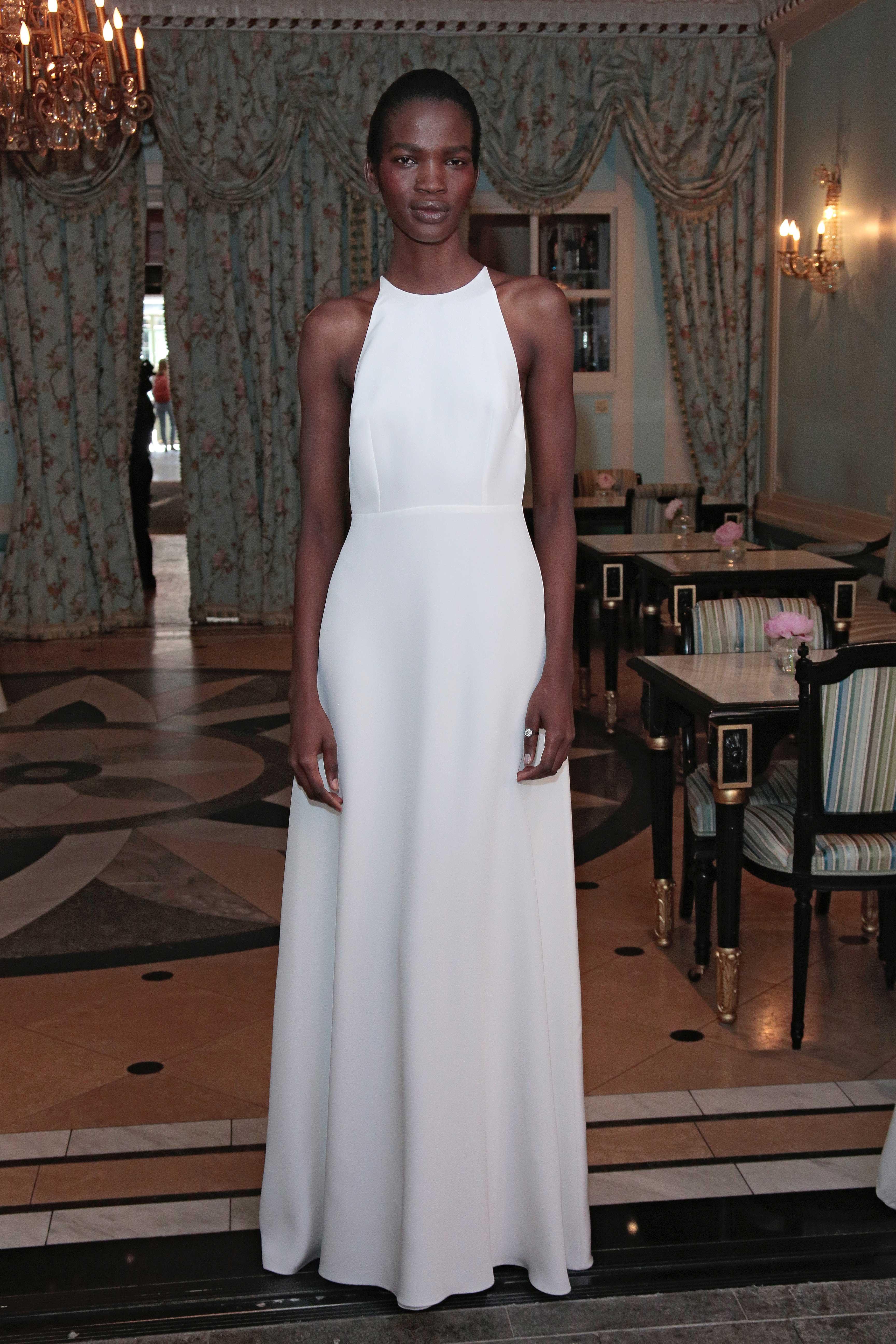 Delphine Manivet high neck, simple bridal gown, julie bowen inspiration