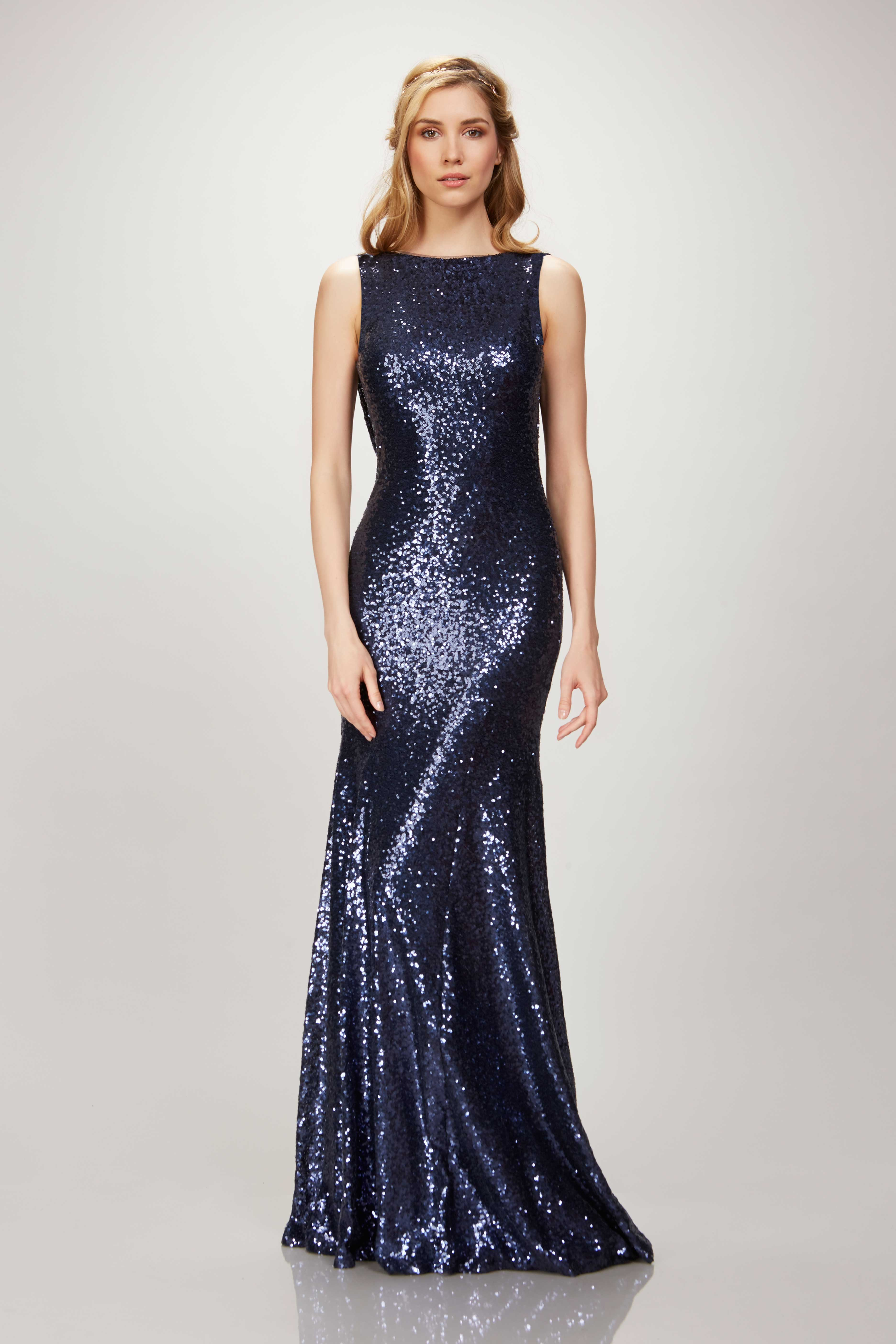 theia bridesmaids navy sequin gown with high neck, Padma Lakshi