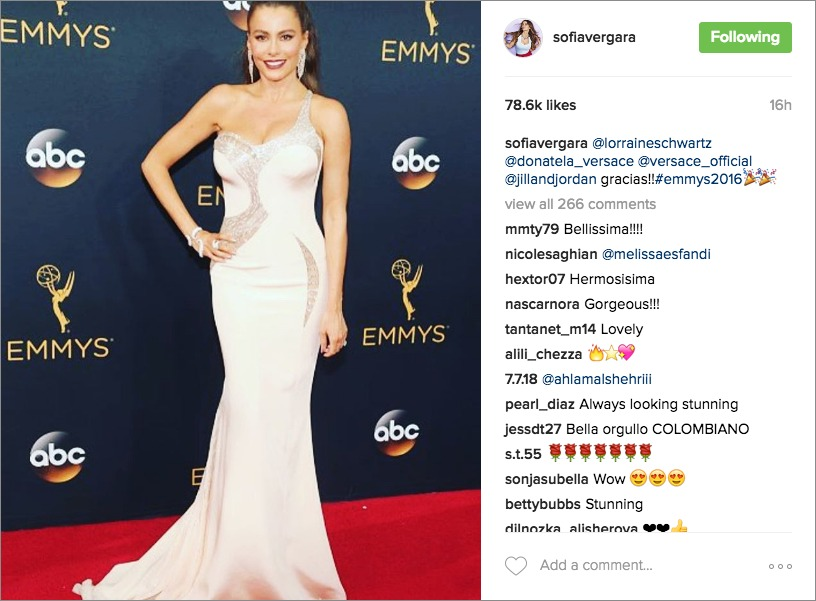 sofia vergara 2016 emmy awards, nude one shoulder versace dress with sequin cut outs