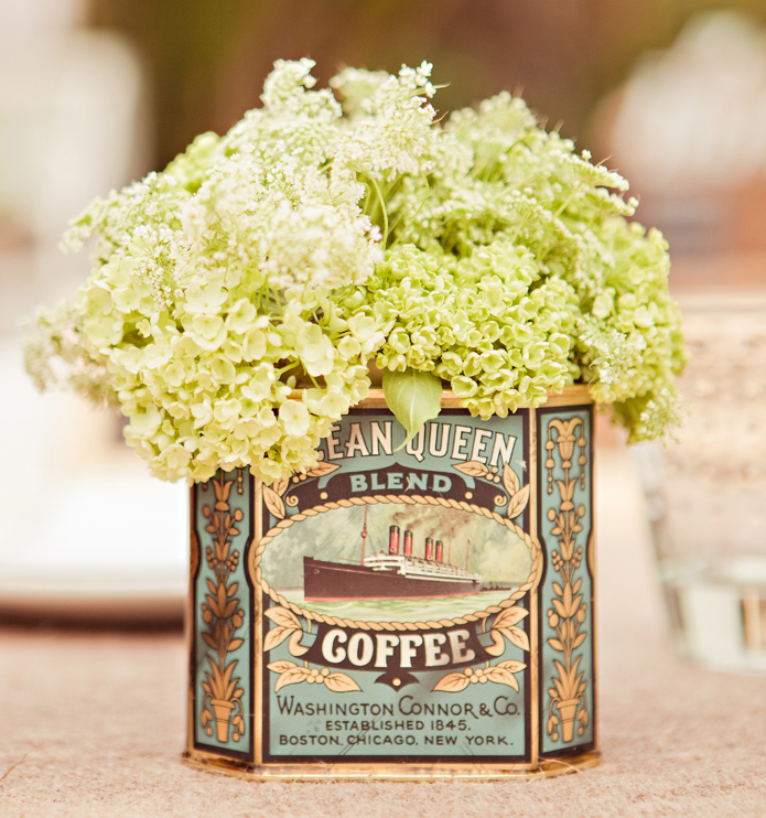 Hydrangea flowers in vintage coffee can