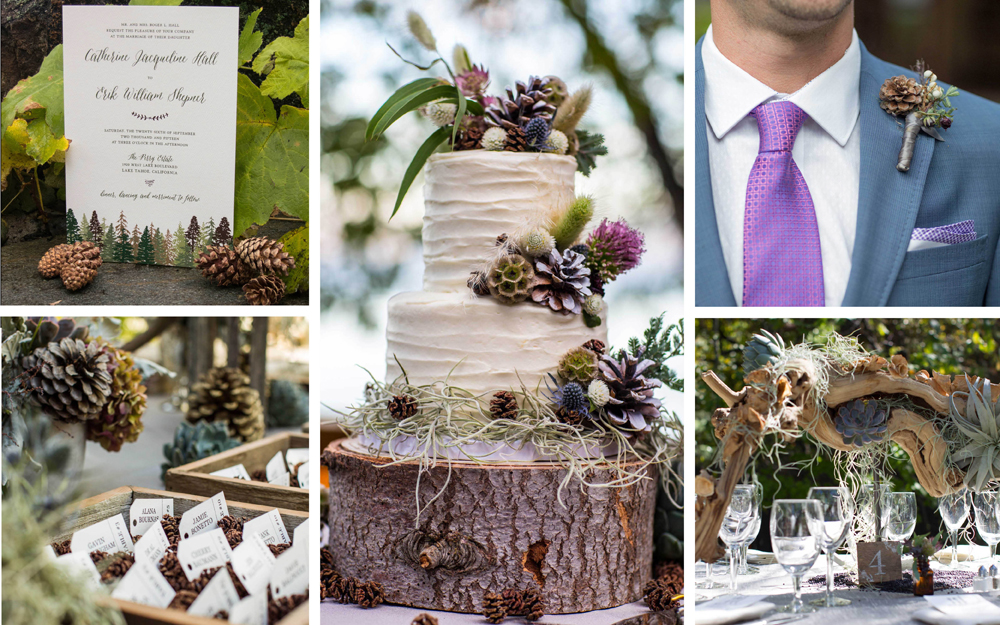 Fall wedding ideas pinecone and wood decorations