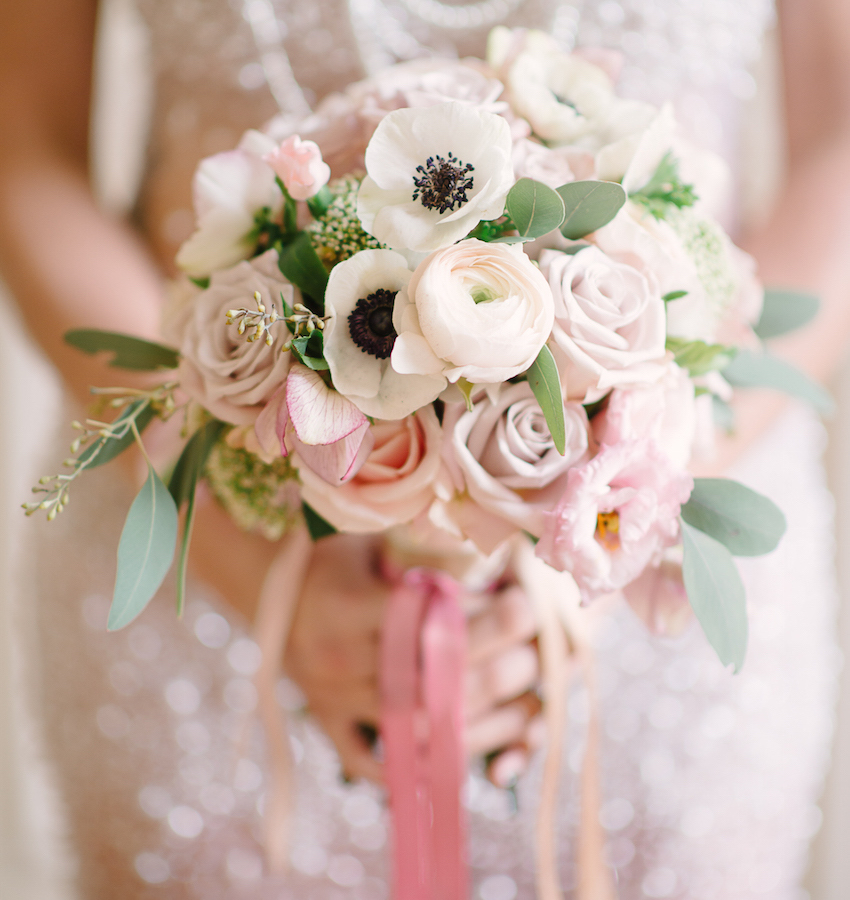 Light pink blush wedding bouquet with anemone flowers