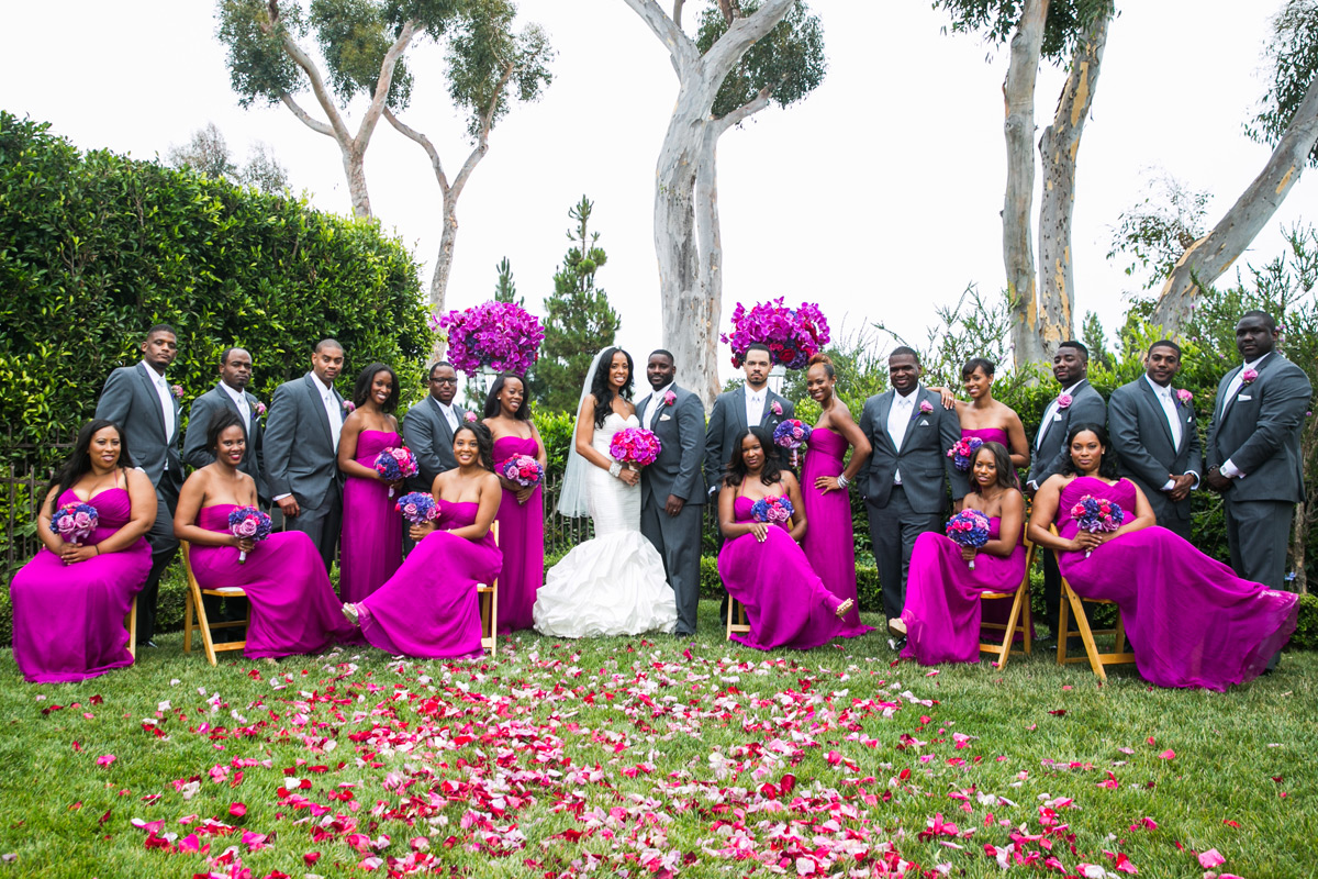Bright fuchsia bridesmaid dresses