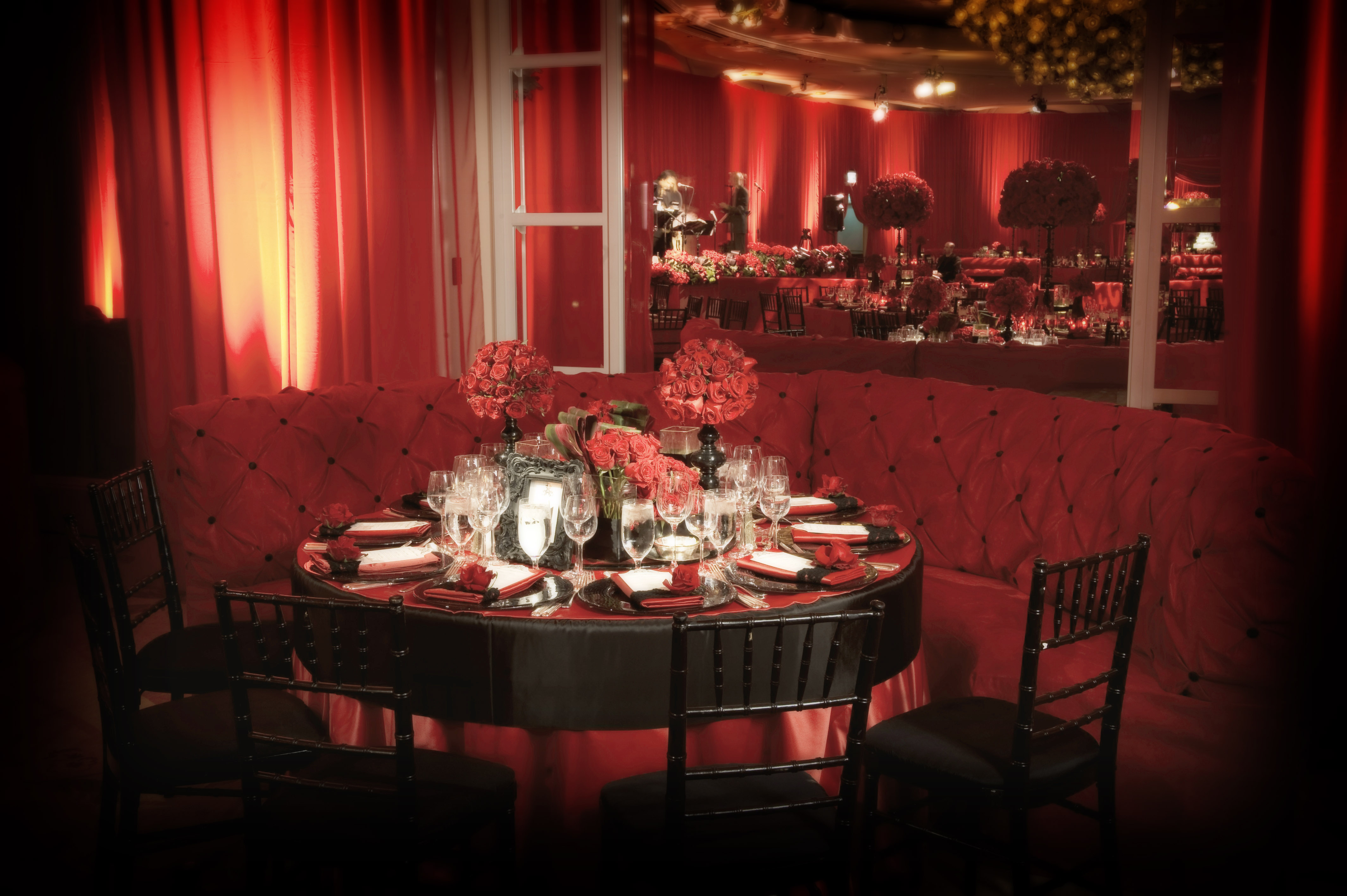Red wedding reception tufted banquette bench for dinner table