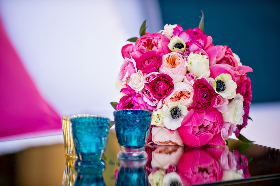 Pink peony and garden rose bouquet with anemone flowers