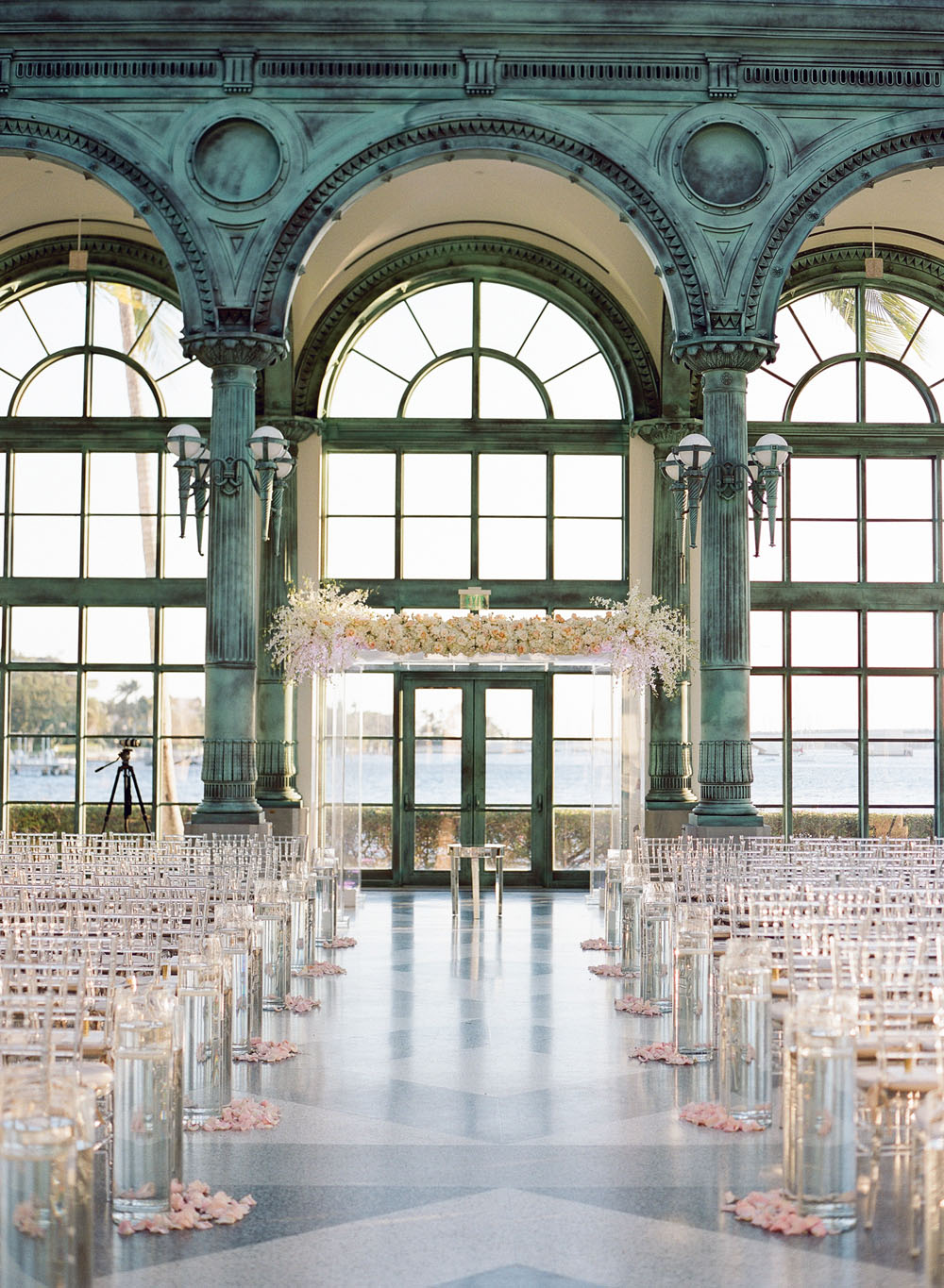 indoor wedding with ivory and blush florals