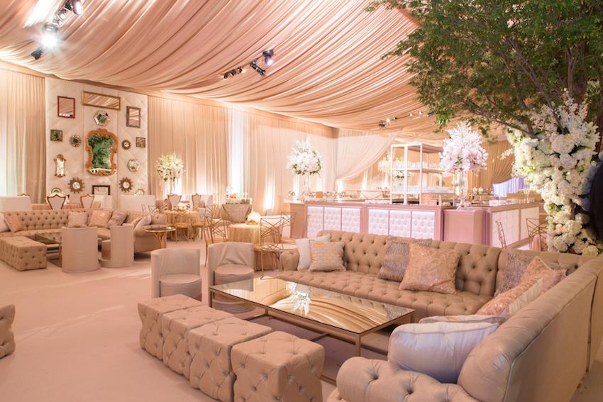 Wedding lounge at indoor wedding reception trends