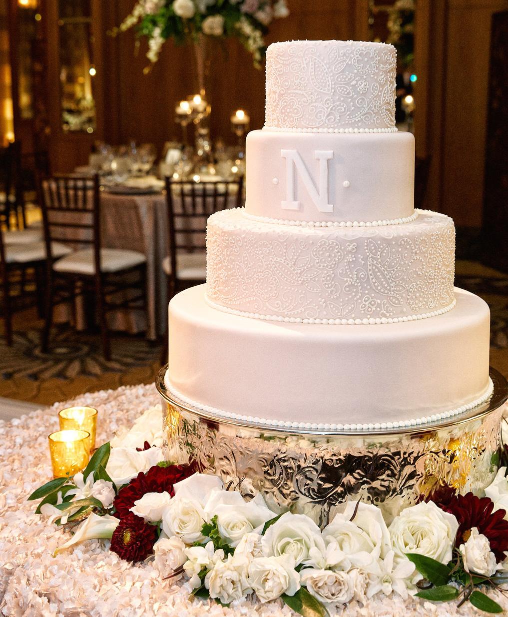 White wedding cake for Chicago wedding