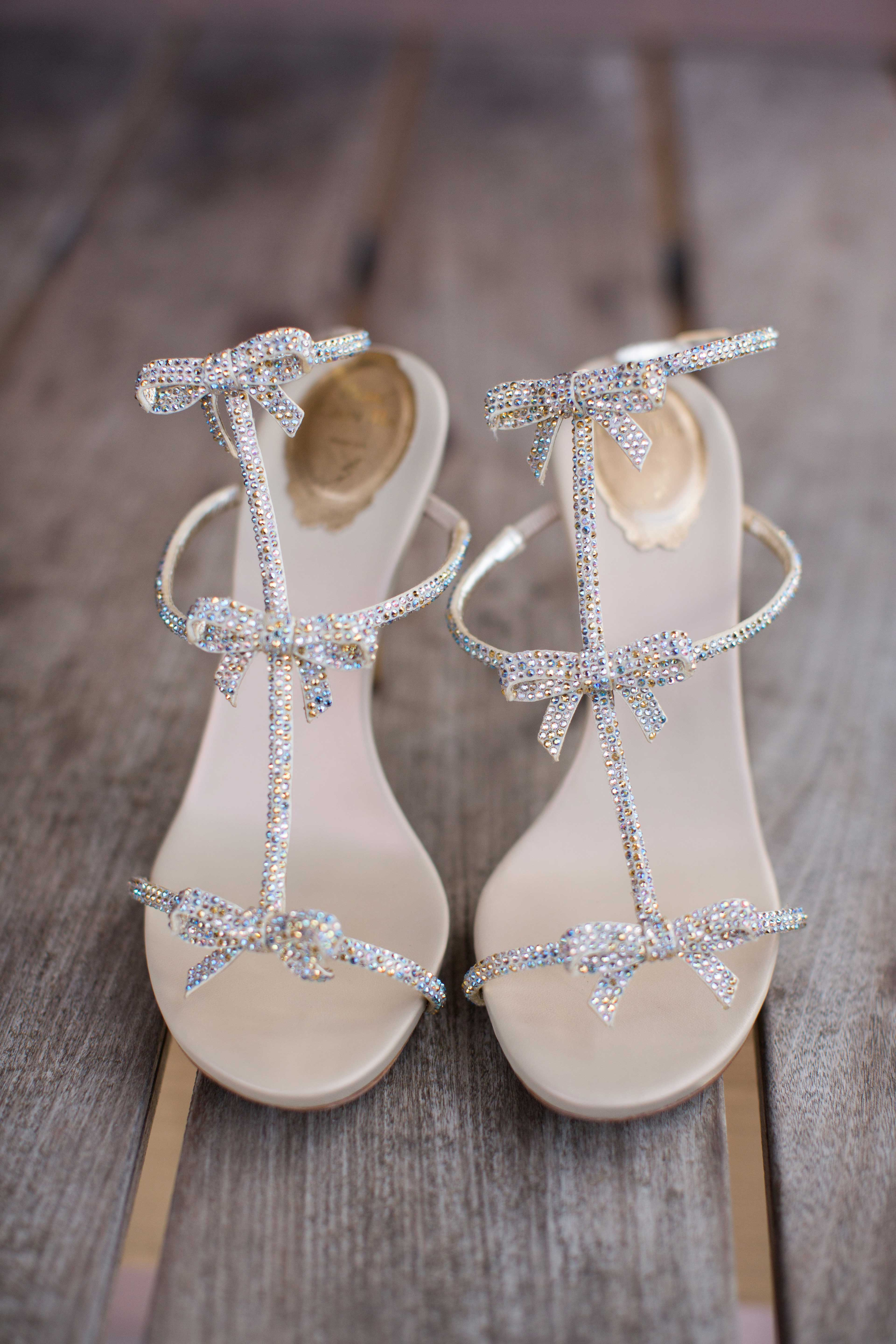 Sparkly Sandal Heels With Bow Detail Wedding Shoes