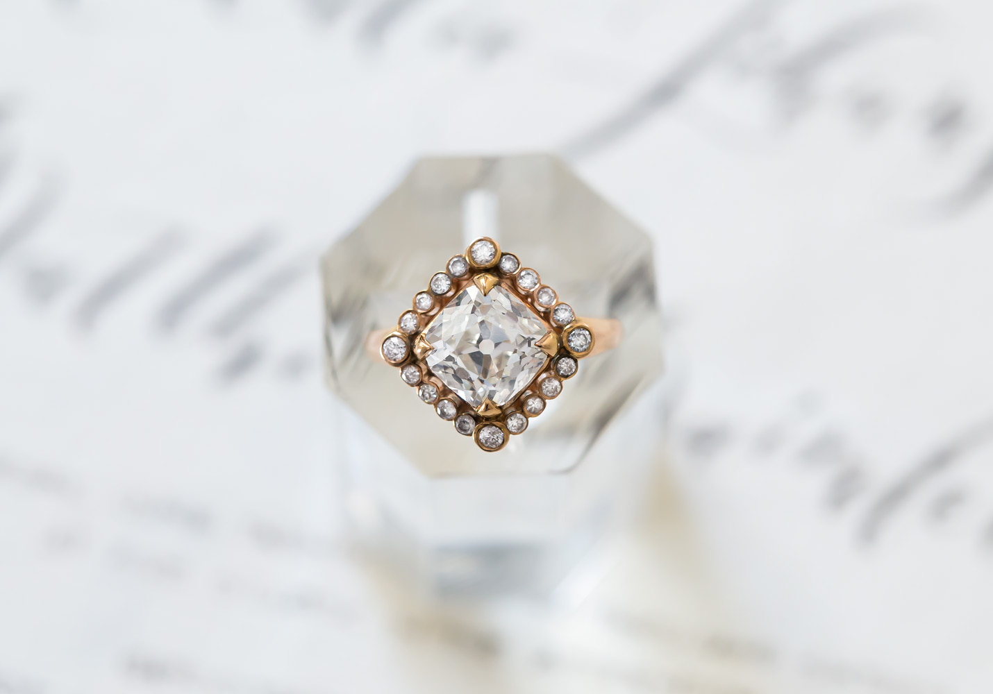 samira wiley engagement ring inspiration, claire pettibone for trumpet & horn, kite set diamond ring in rose gold