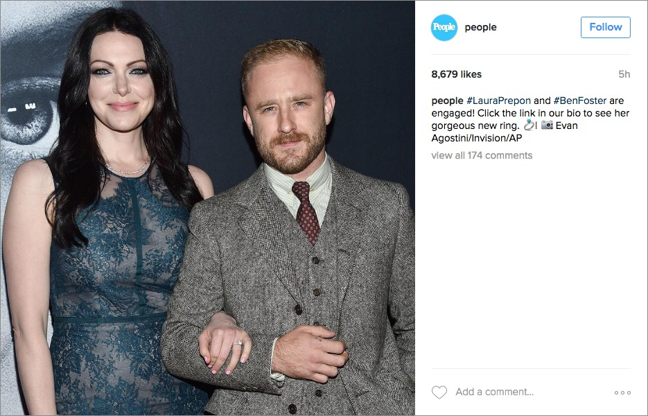 laura prepon ben foster engagement, yellow gold pave round diamond engagement ring