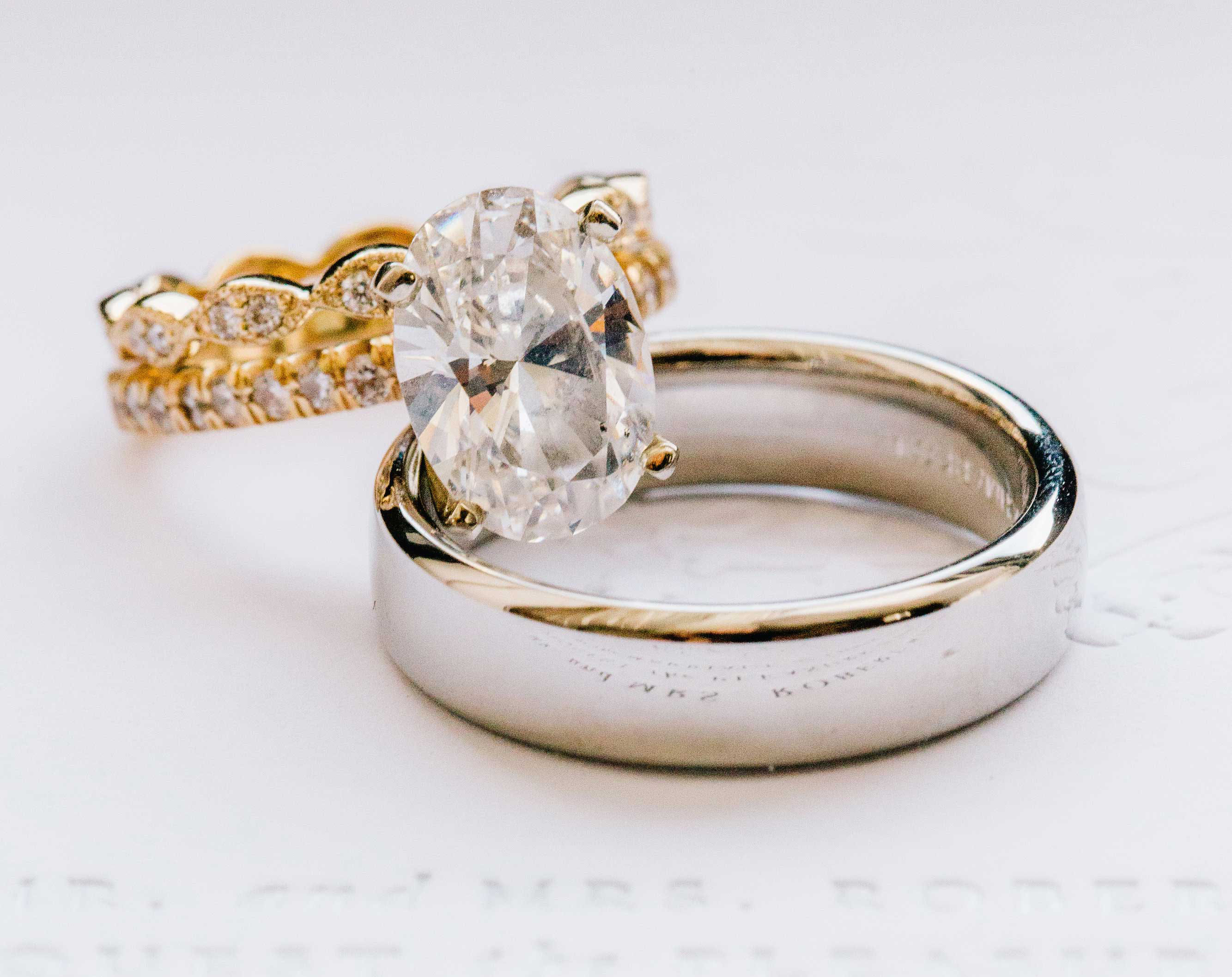 laura prepon engagement ring inspiration, oval solitaire, pave yellow gold band