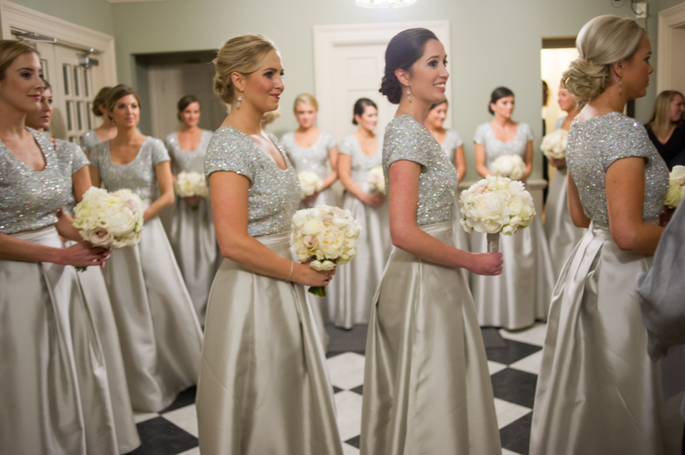silver sequin bodices, silver satin skirts, silver bridesmaids dresses