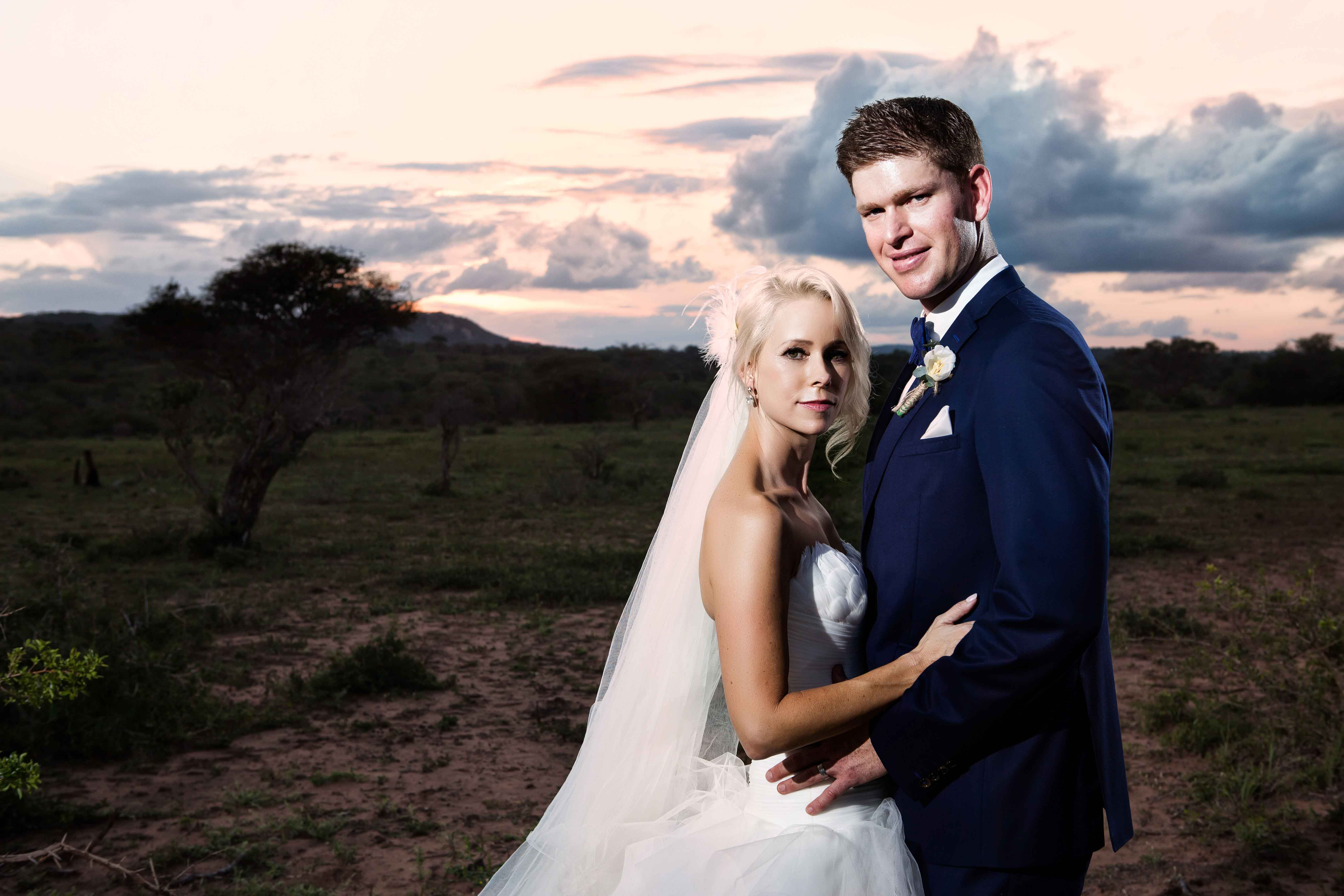 Photo of bride and groom at sunset in South Africa