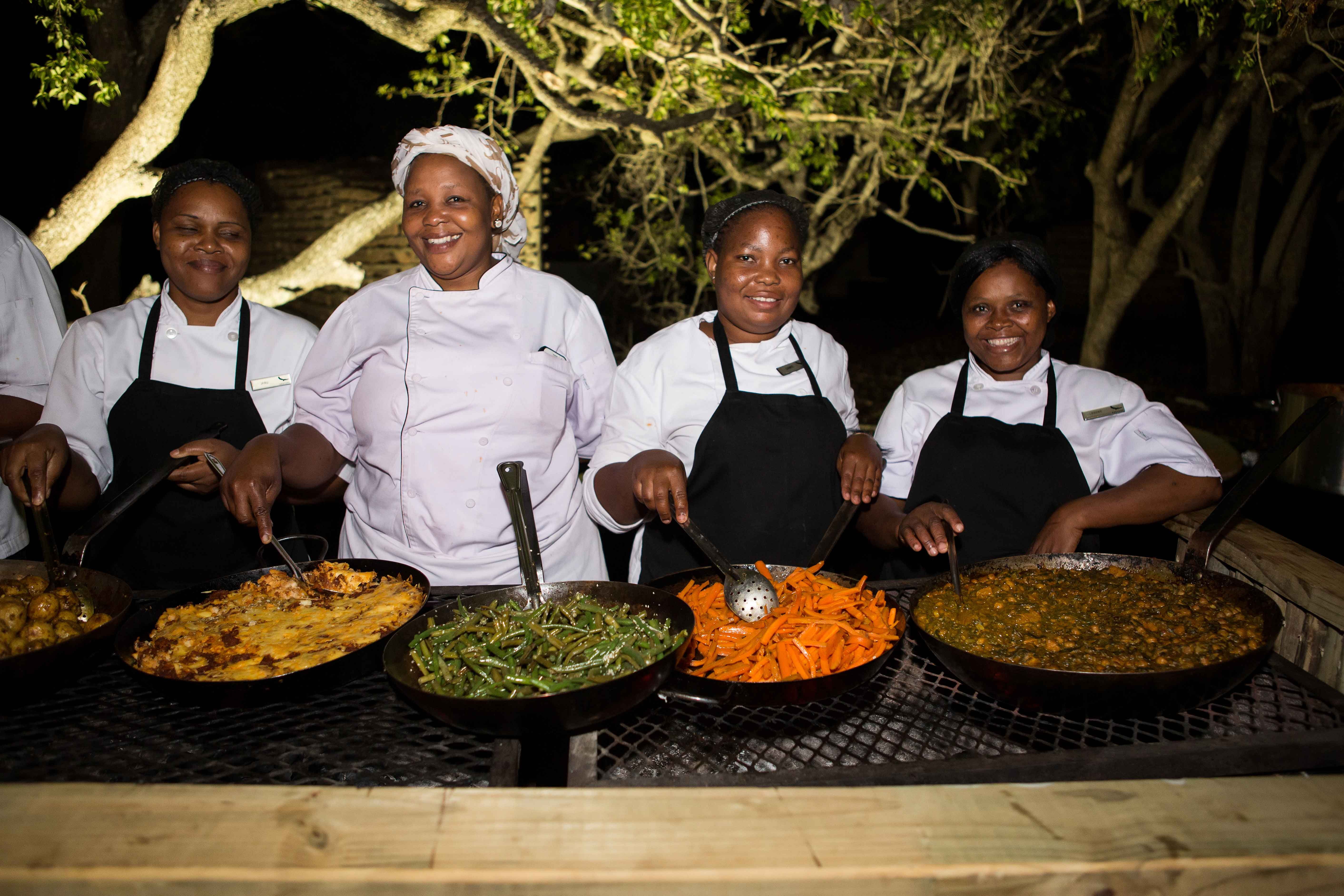 Food at outdoor wedding reception in South Africa
