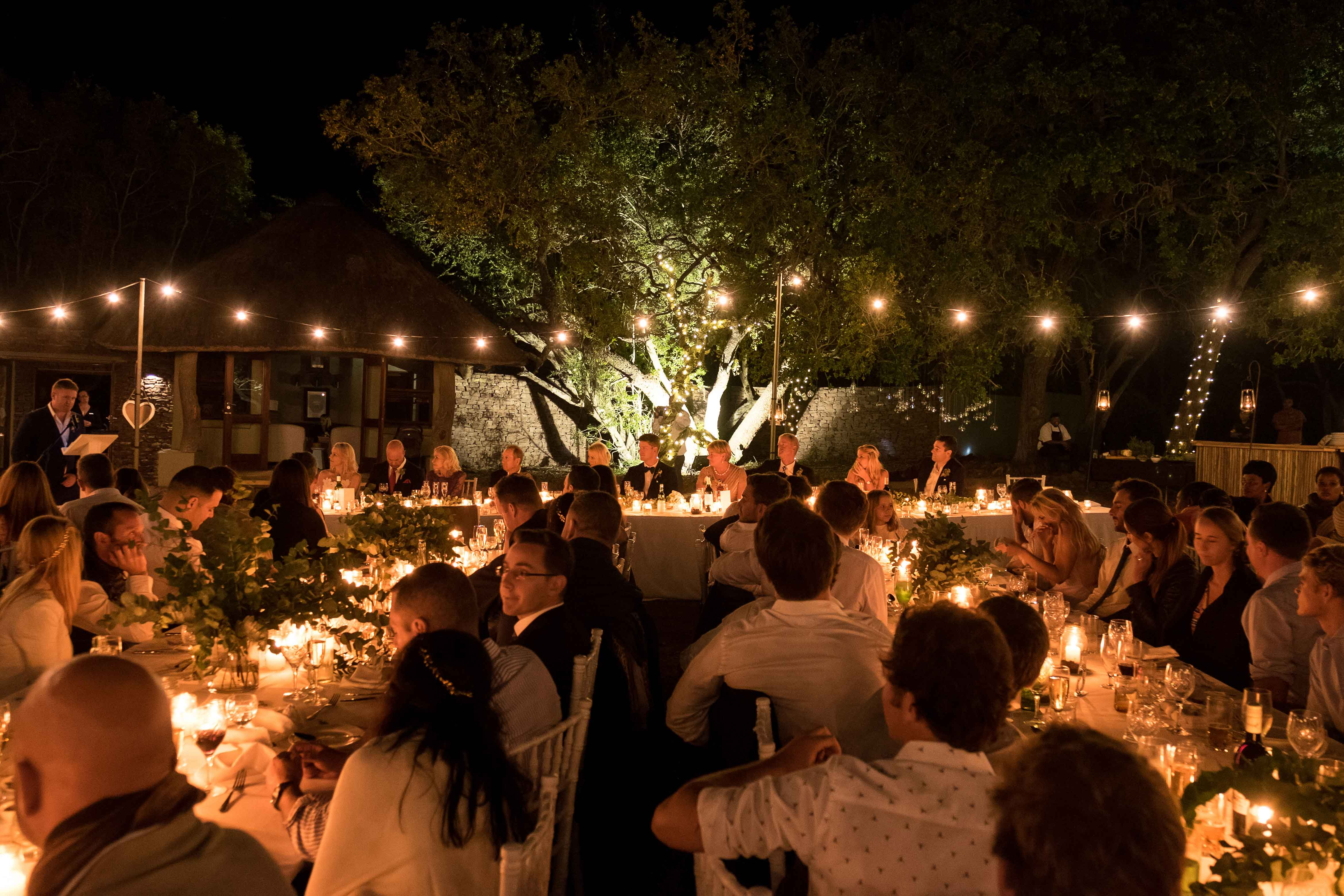 Wedding reception toasts at private game reserve in South Africa