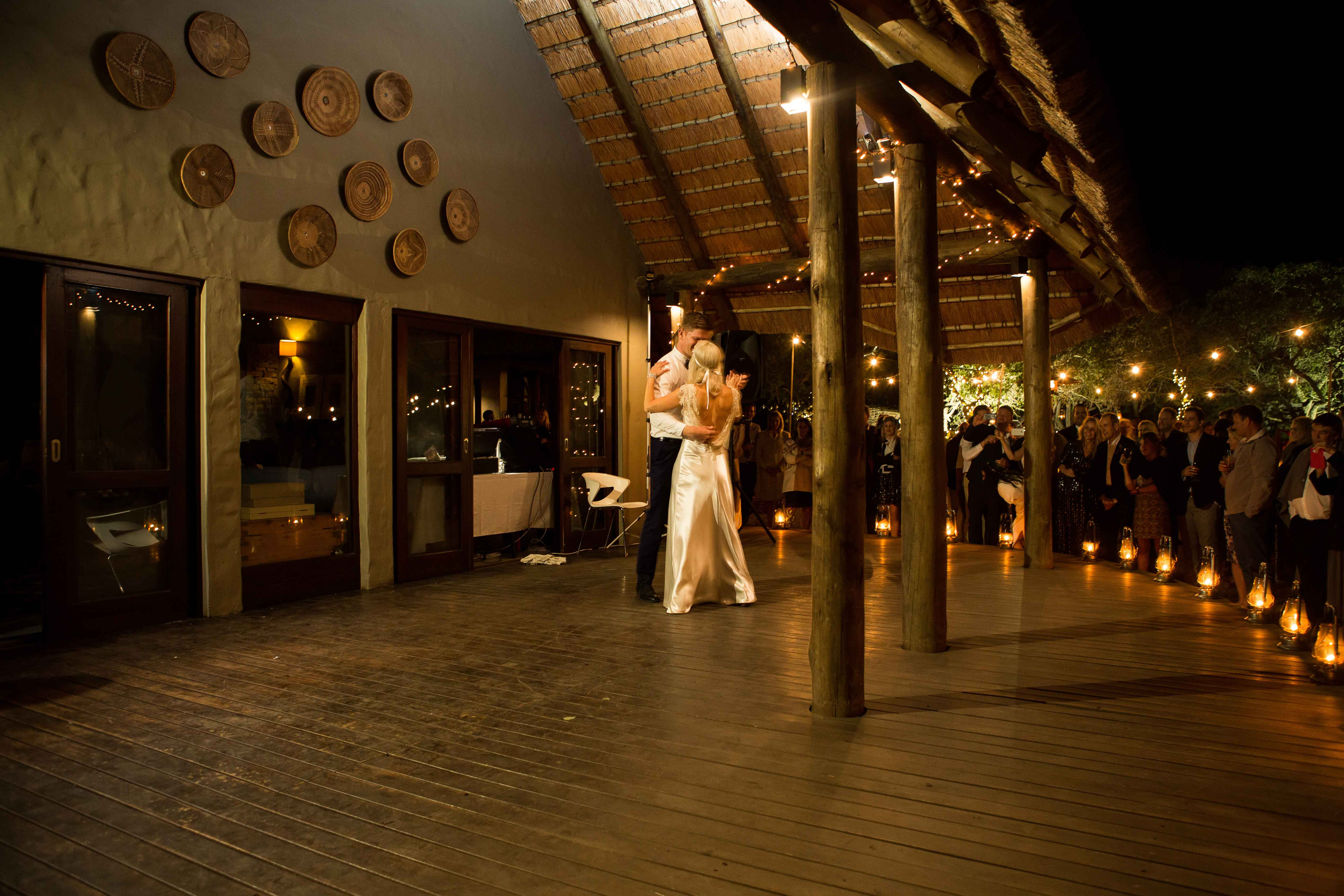Bride in second wedding dress for first dance at safari camp in South Africa