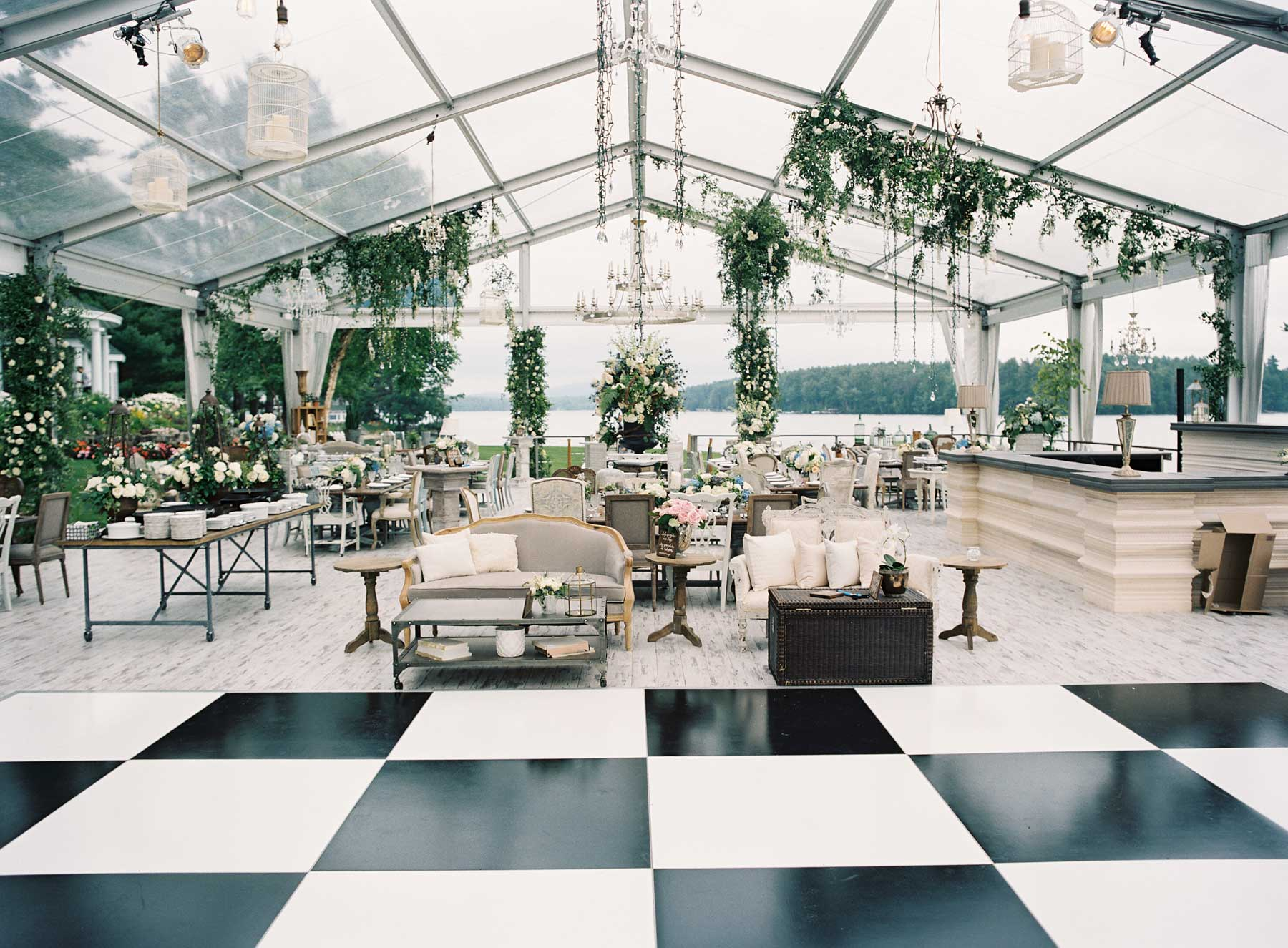 Clear top wedding tent black and white checker dance floor & Wedding Ideas u0026 Trends: Clear-Top Wedding Tents - Inside Weddings