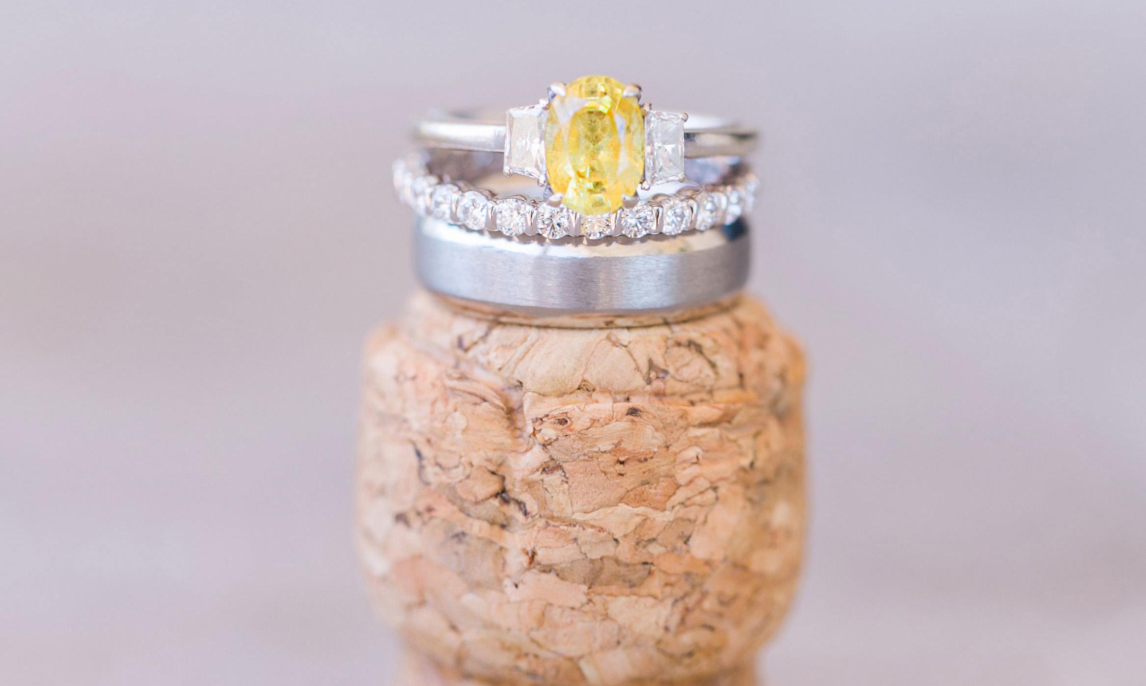 three-stone engagement ring yellow oval diamond, diamond sidestones