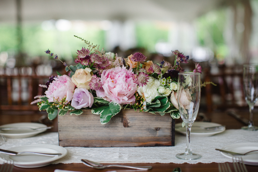 rustic wedding decor, wooden planter  box with florals on top on lace table runner