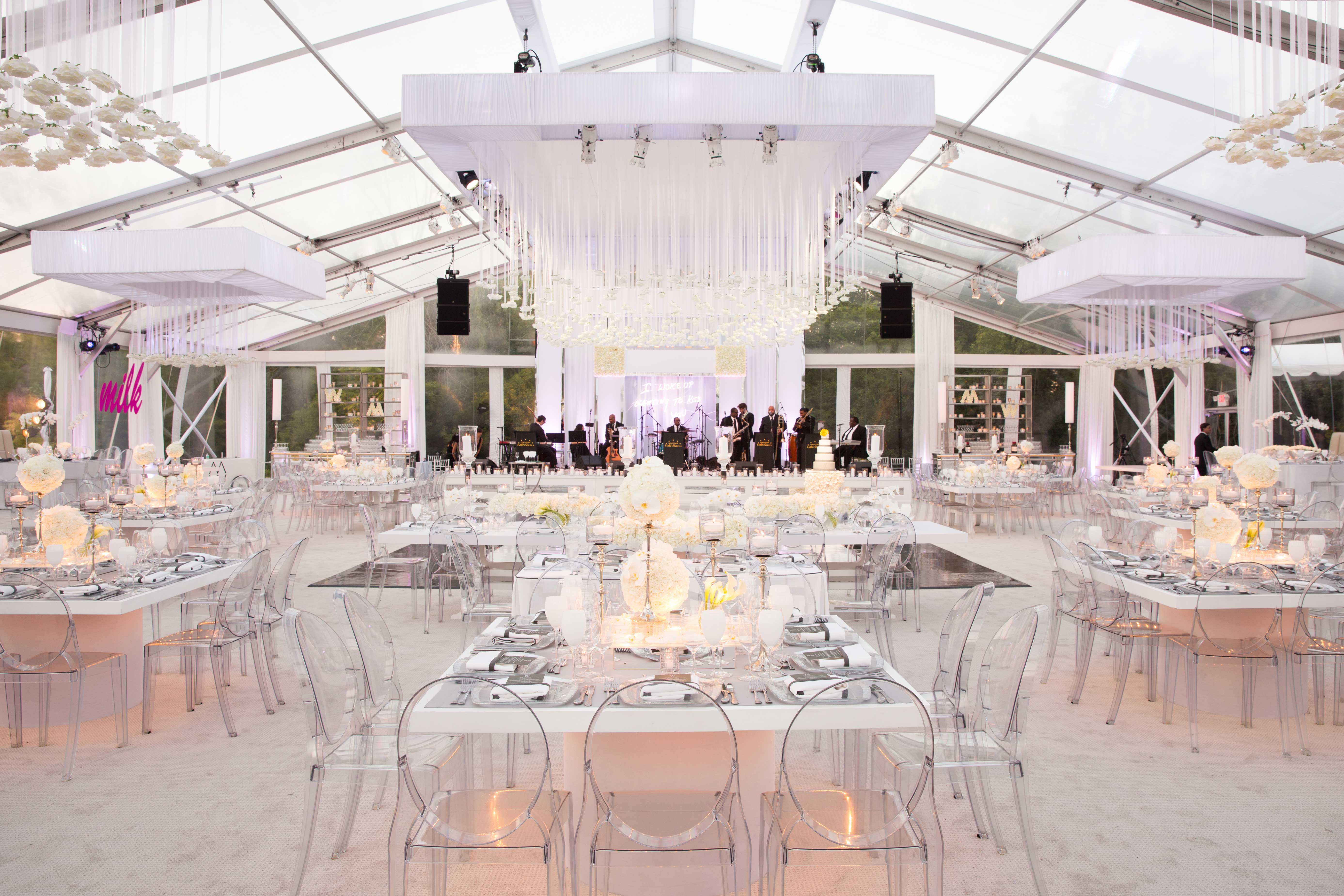 Clear Top Wedding Tent Reception With White Color Palette
