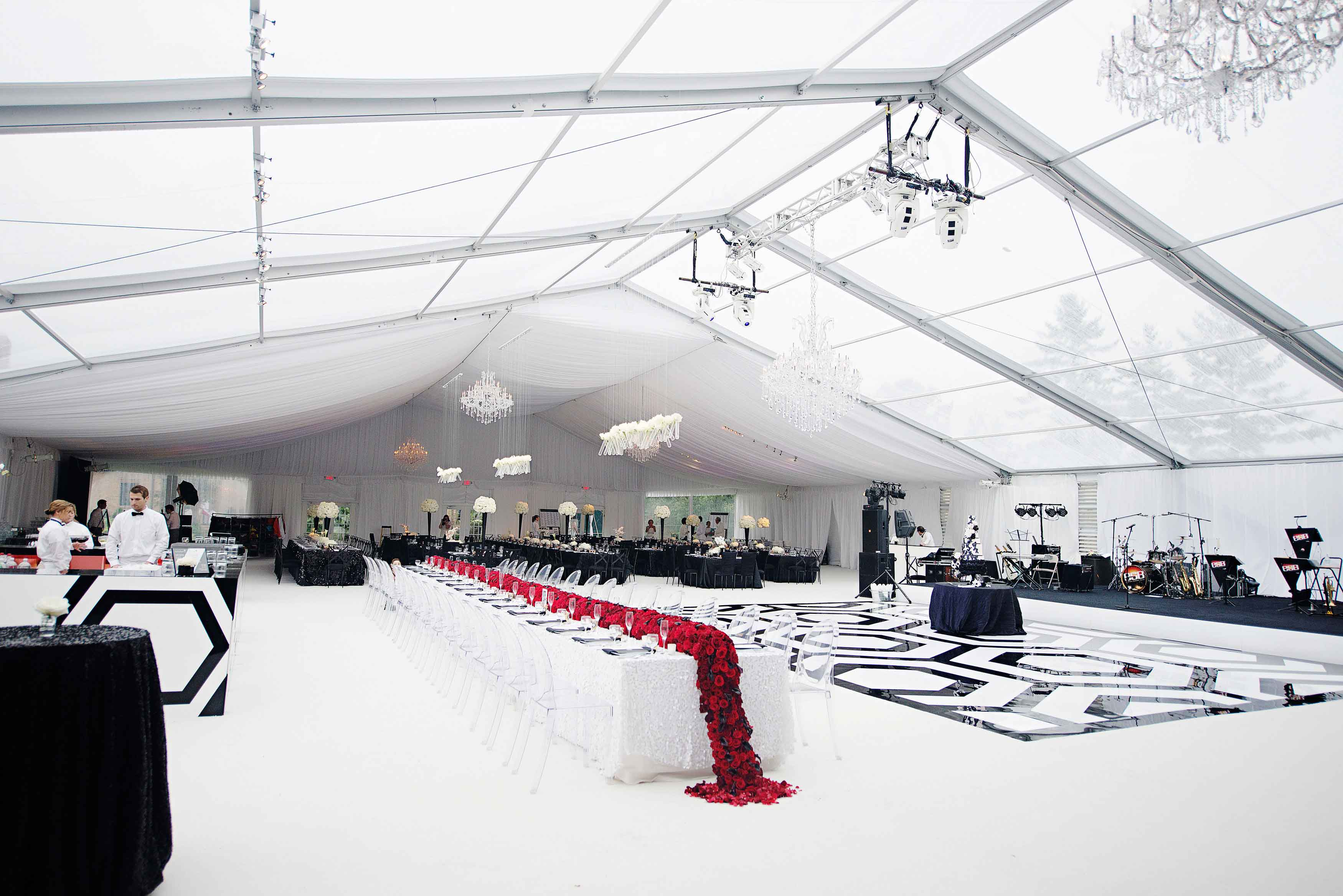 Half draped half clear top wedding reception tent white black red decor