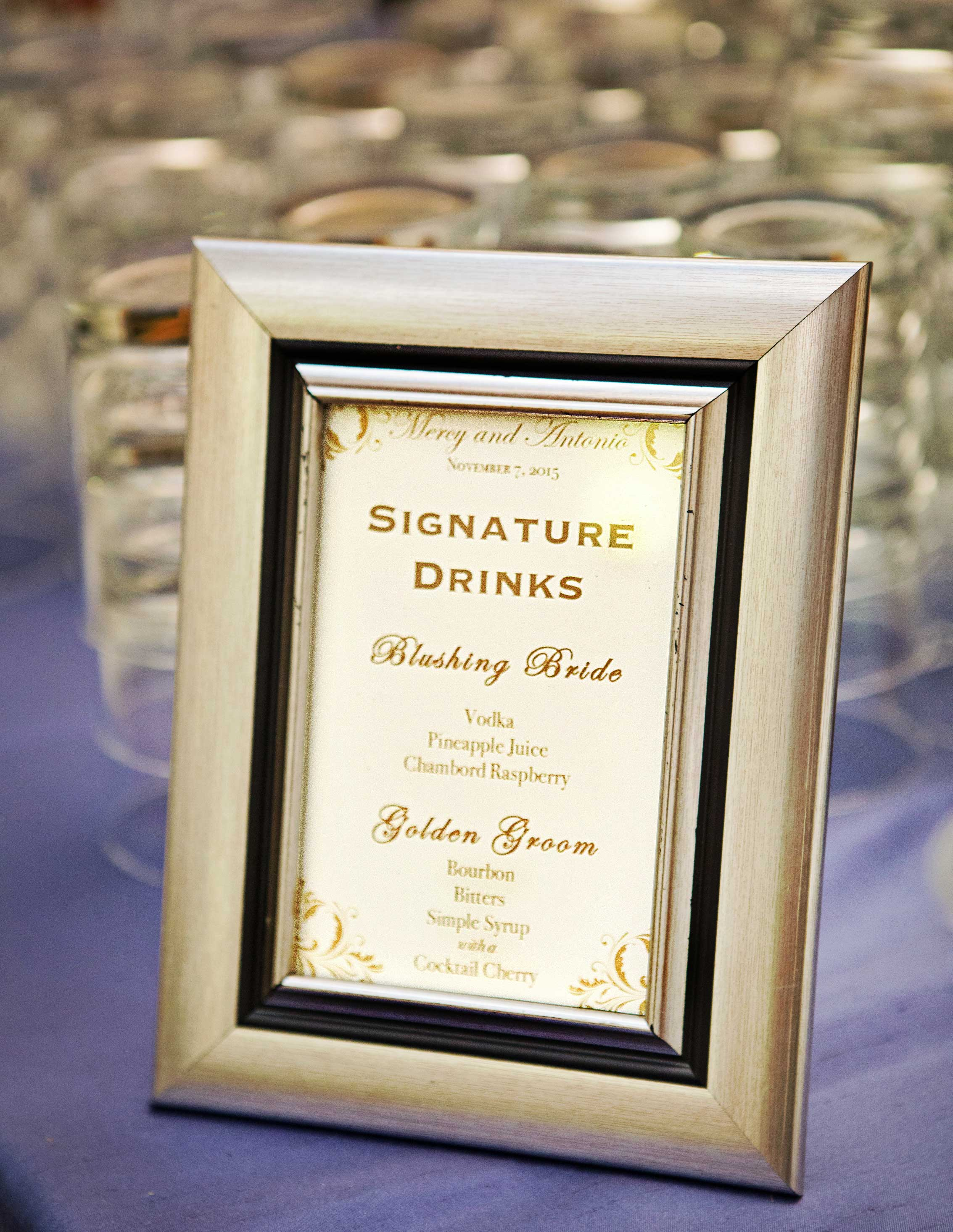 cocktail hour sign for signature drinks