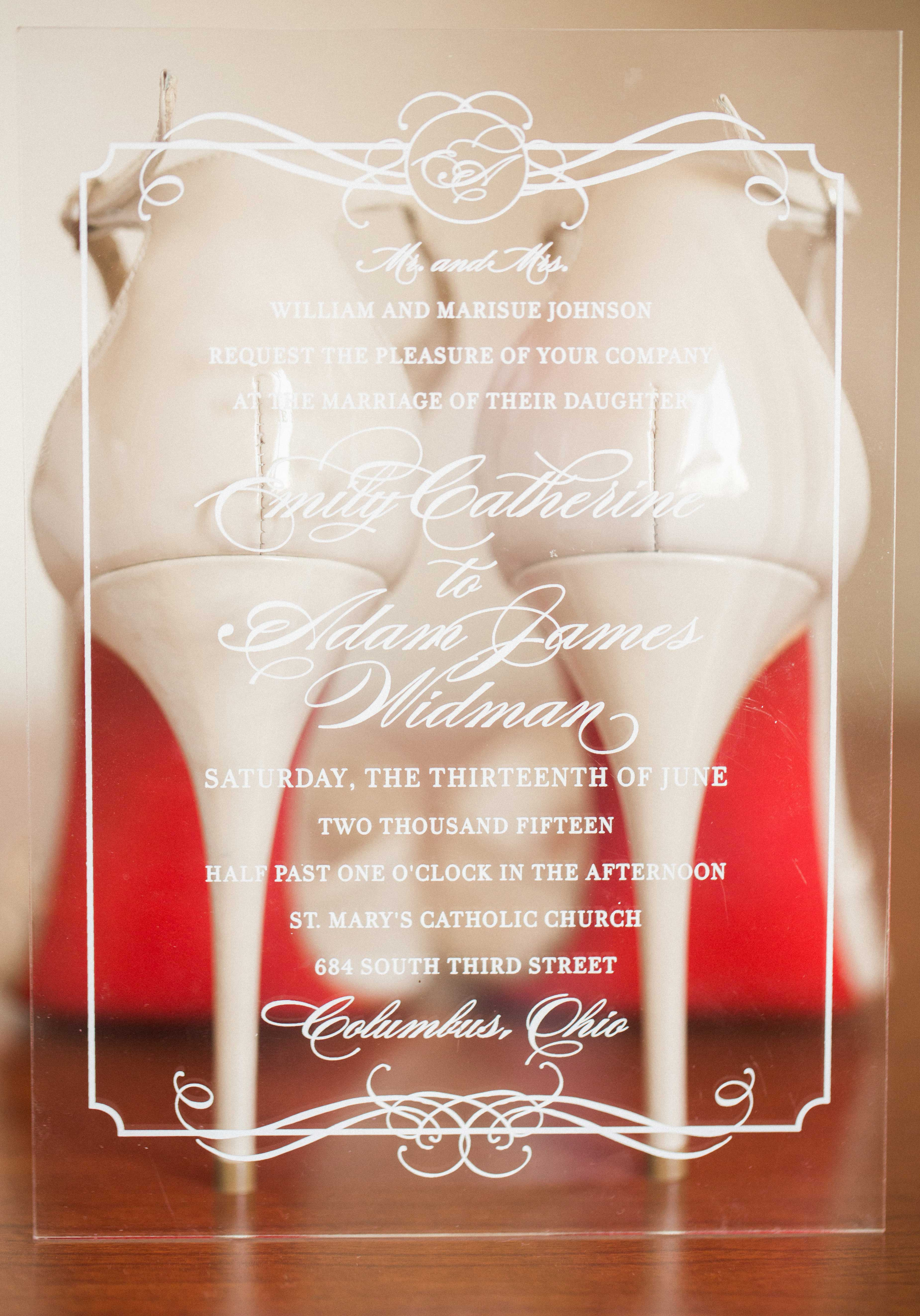 Clear lucite acrylic wedding invitation with white script Louboutin shoe