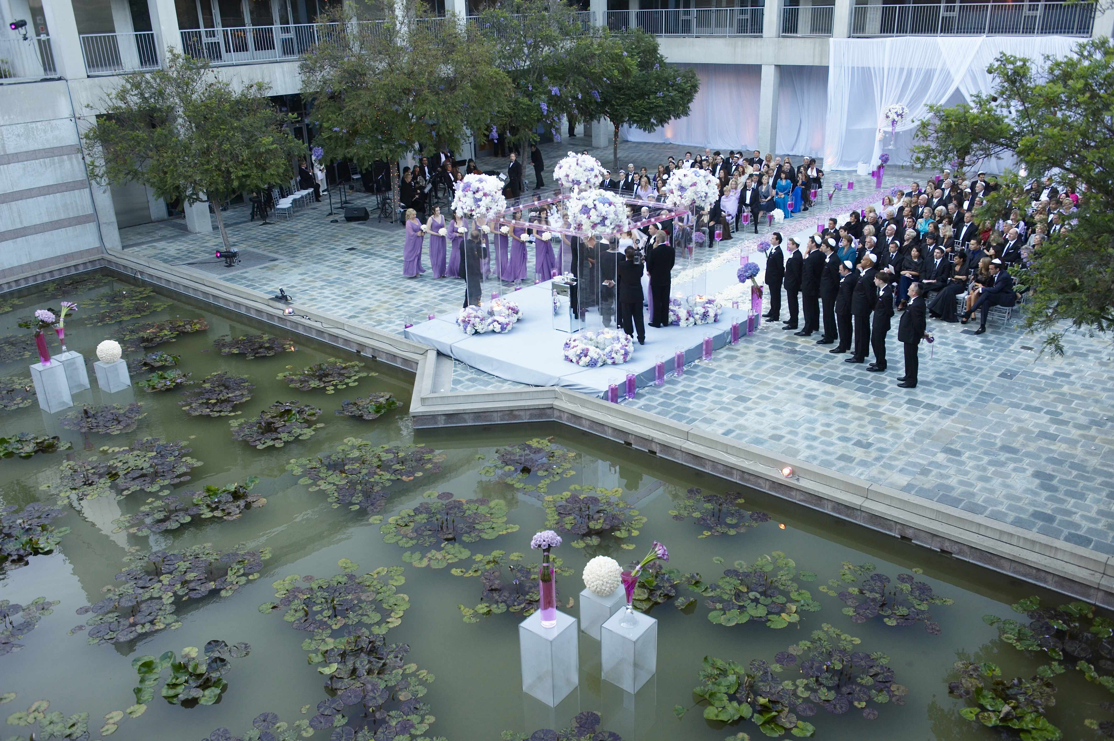 Skirball Cultural Center wedding ceremony purple color palette clear details