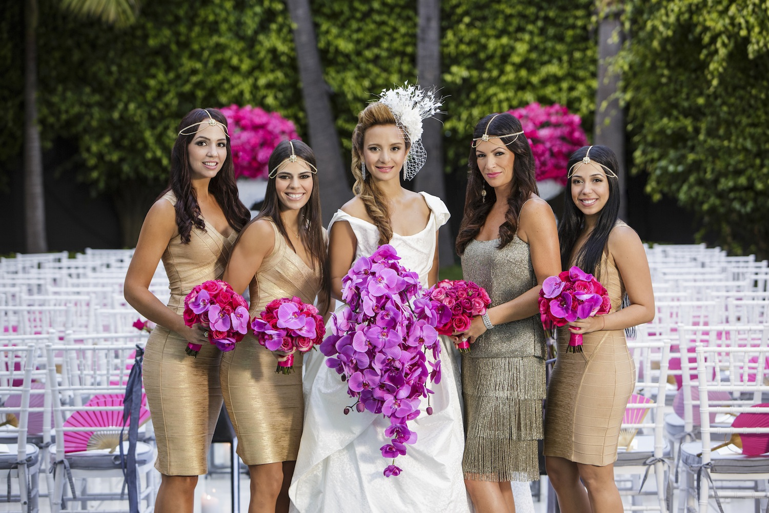Gold bodycon short bridesmaid dresses orchid bouquets headpieces