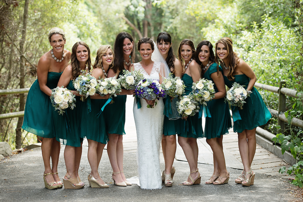 Mismatched short bridesmaid dresses teal Melissa Claire Egan wedding