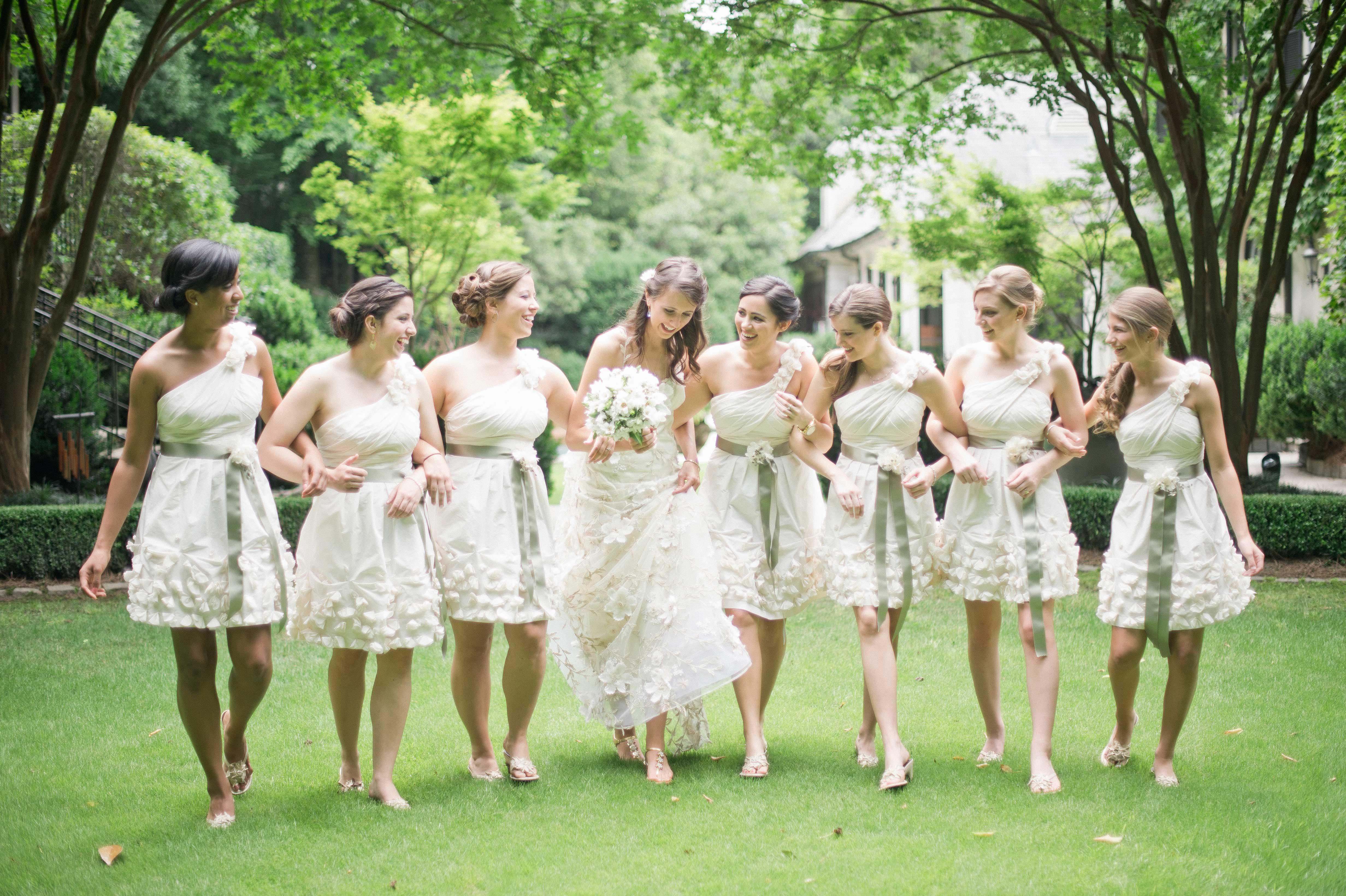 Unique one shoulder white short bridesmaid dresses
