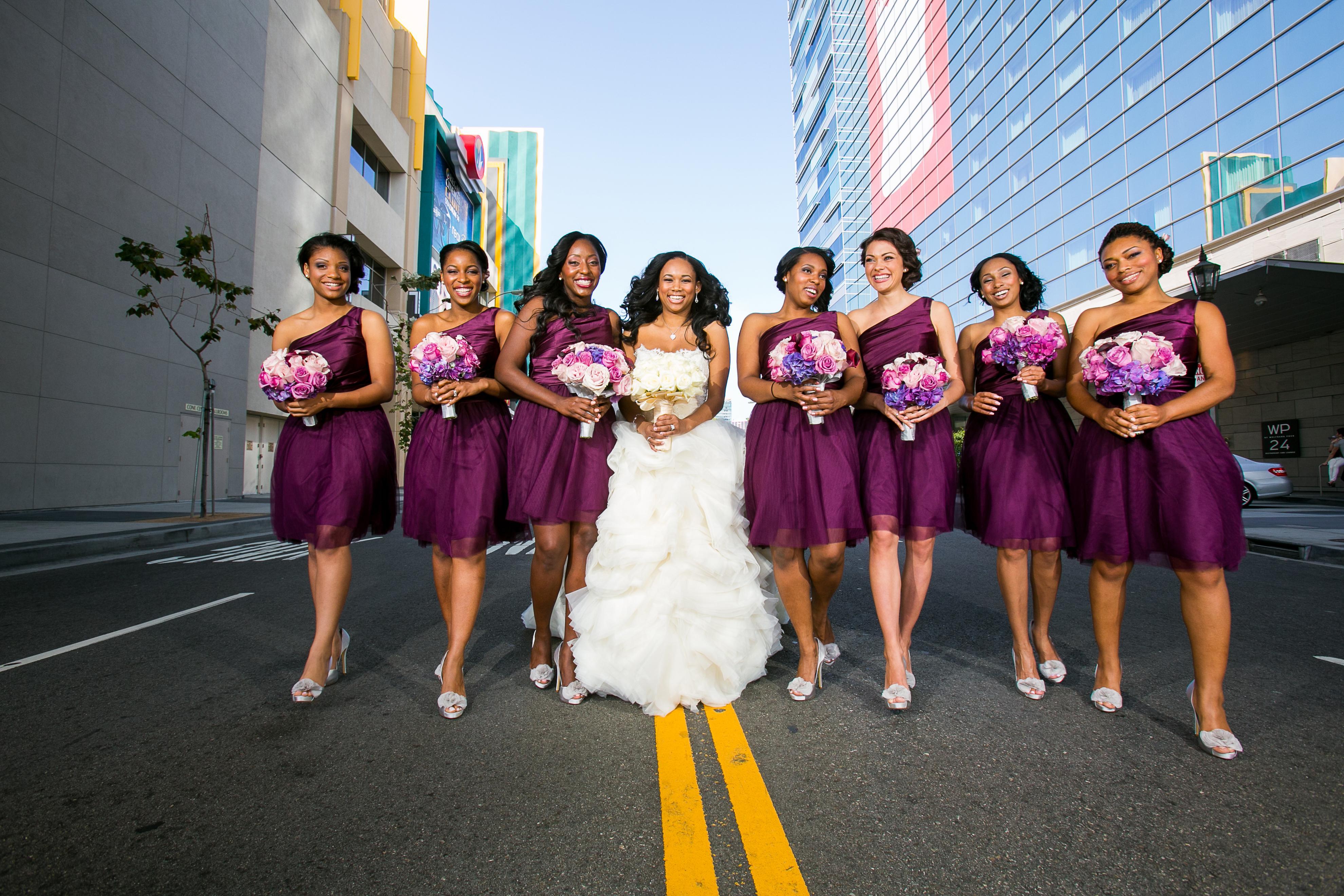 Short bridesmaid dresses ideas for spring summer weddings matching one shoulder purple short bridesmaid dresses for brandon mebane amena jefferson ombrellifo Gallery
