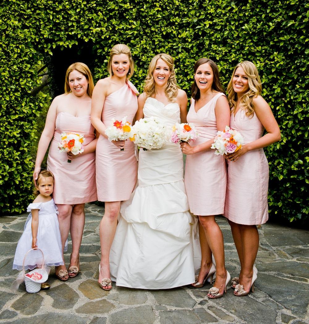 Strapless v neck one shoulder pink short bridesmaid dresses