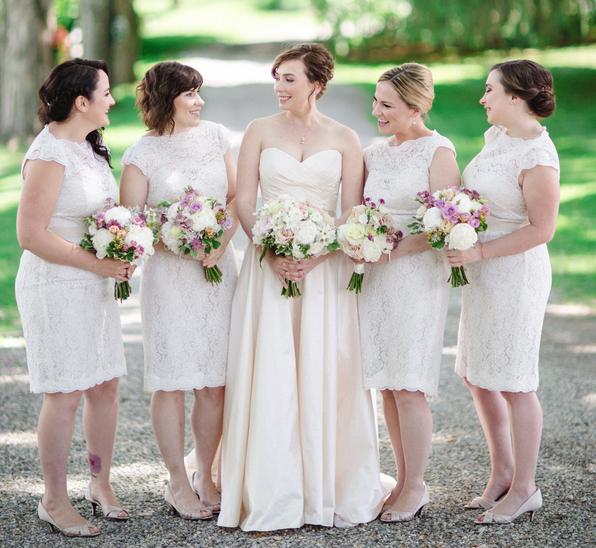 Cap sleeve short white lace bridesmaid dresses