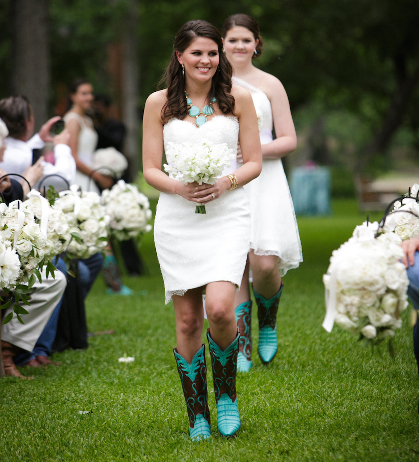 Strapless white short bridesmaid dress turquoise cowboy boots statement necklace